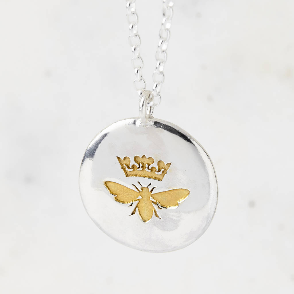 Sterling Silver And Gold Queen Bee Necklace Pertaining To Recent Queen Bee Pendant Necklaces (Gallery 9 of 25)