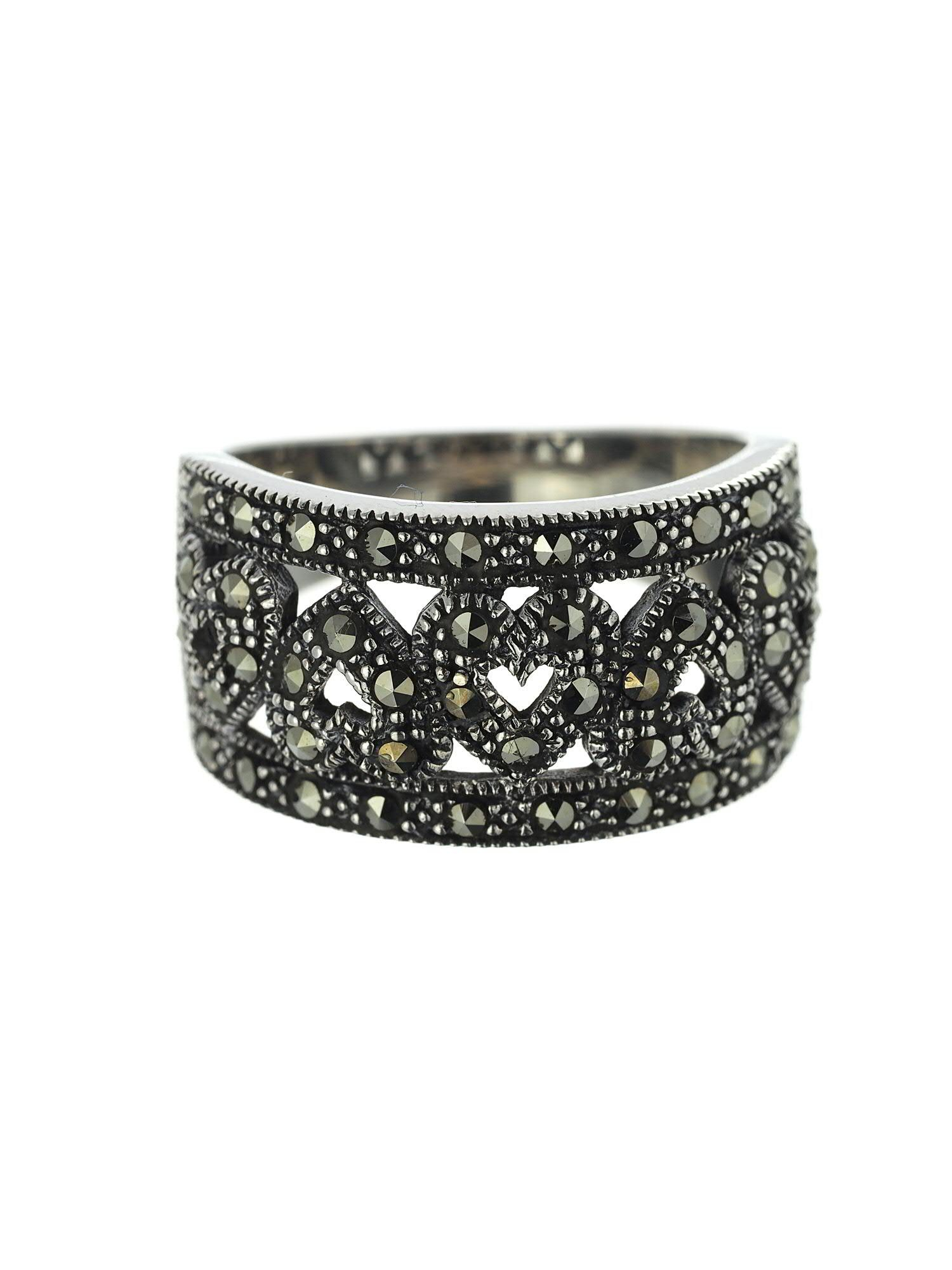 Sterling Silver And Marcasite Band Of Hearts Ring With Most Popular Band Of Hearts Rings (Gallery 22 of 25)