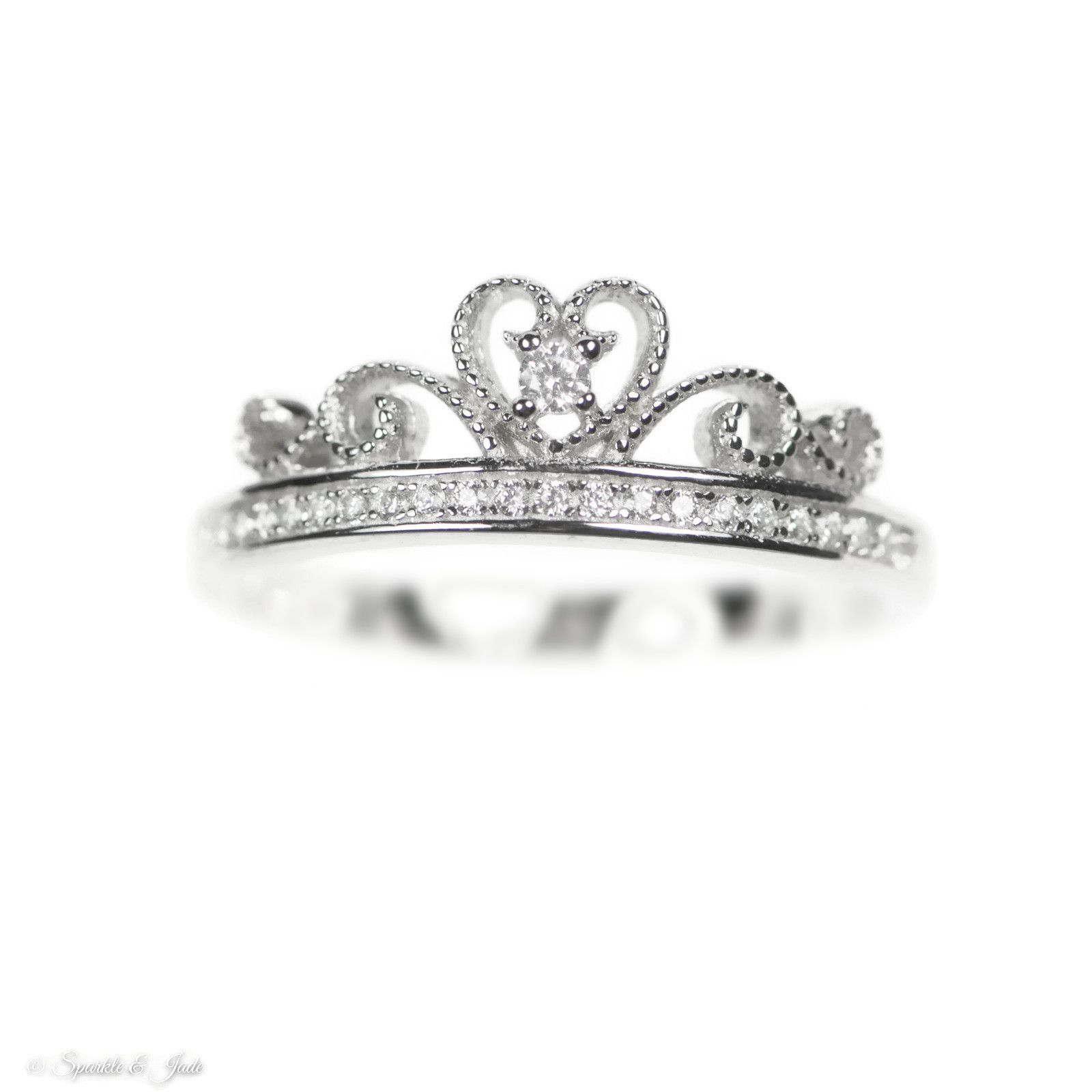 Sterling Silver Beaded Crown Cz Heart Ring , – Sparkle & Jade – 1 Regarding Most Recently Released Black Sparkling Crown Rings (View 16 of 25)