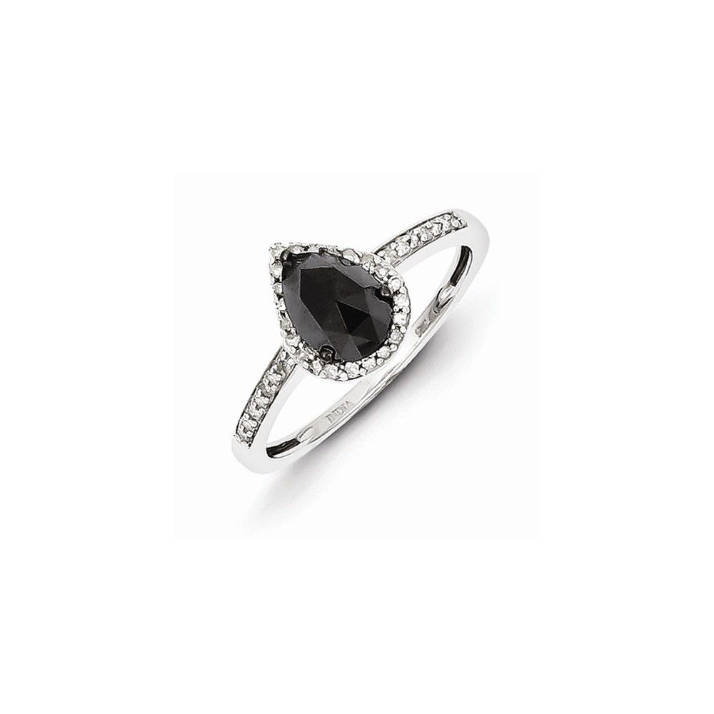 Sterling Silver Black And White Diamond Teardrop Ring Inside Most Popular Enhanced Black And White Diamond Vintage Style Anniversary Bands In Sterling Silver (View 15 of 25)