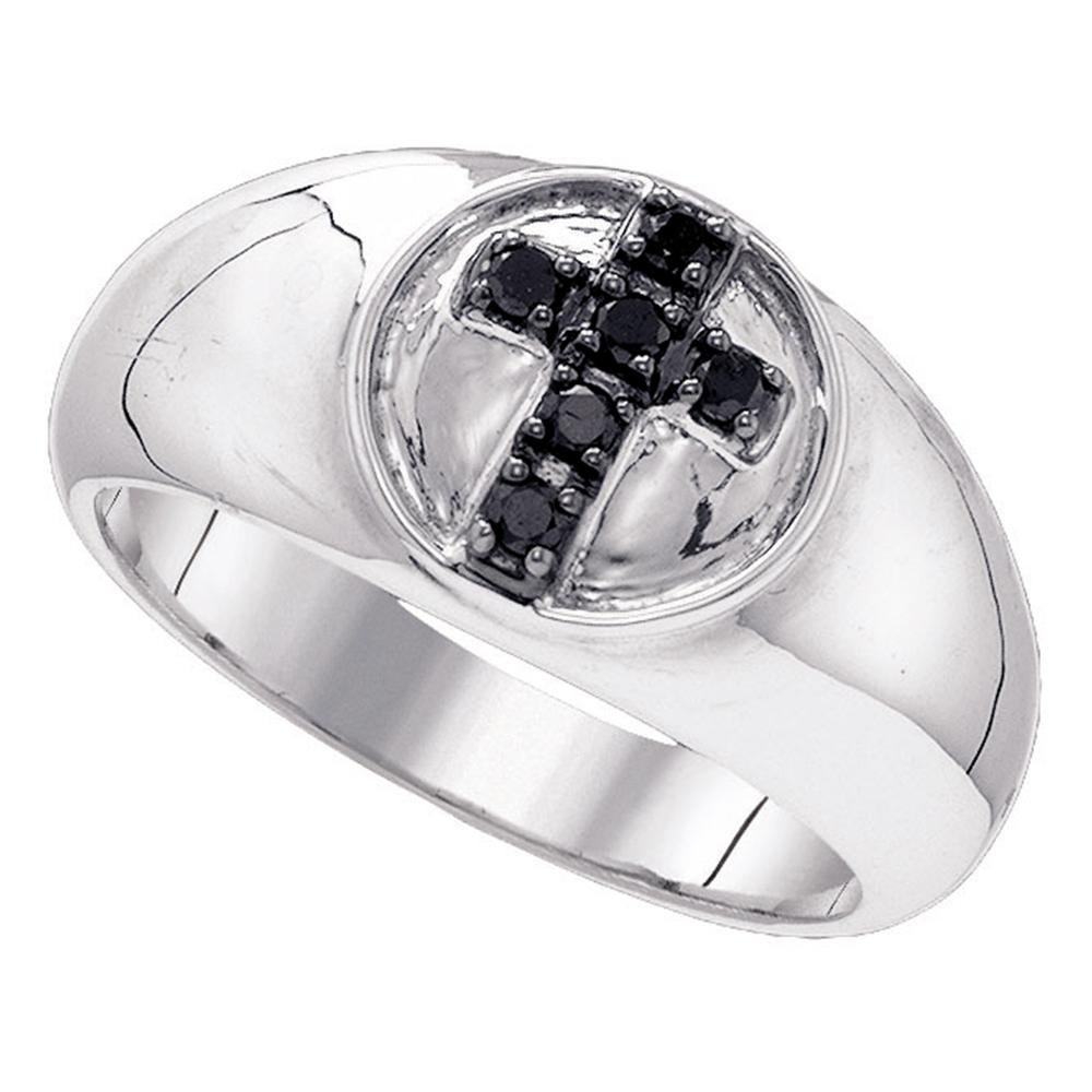 Sterling Silver Black Color Enhanced Diamond Cross Christian Fashion Band  Ring 1/4 Cttw Inside Most Current Enhanced Black And White Diamond Anniversary Bands In Sterling Silver (Gallery 8 of 25)