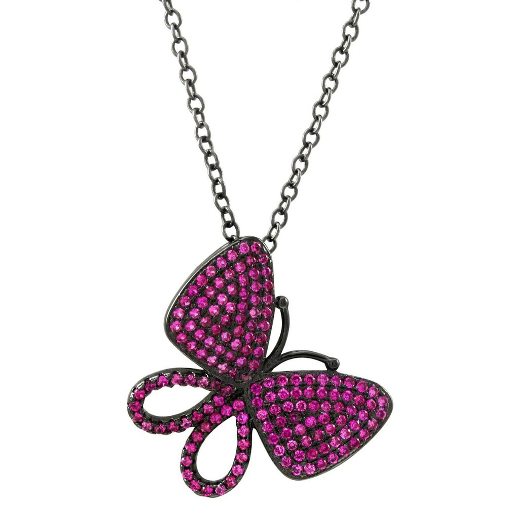 Sterling Silver Black Finish Lab Created Ruby Butterfly Pendant With Current Pink Pavé Butterfly Collier Necklaces (View 3 of 25)