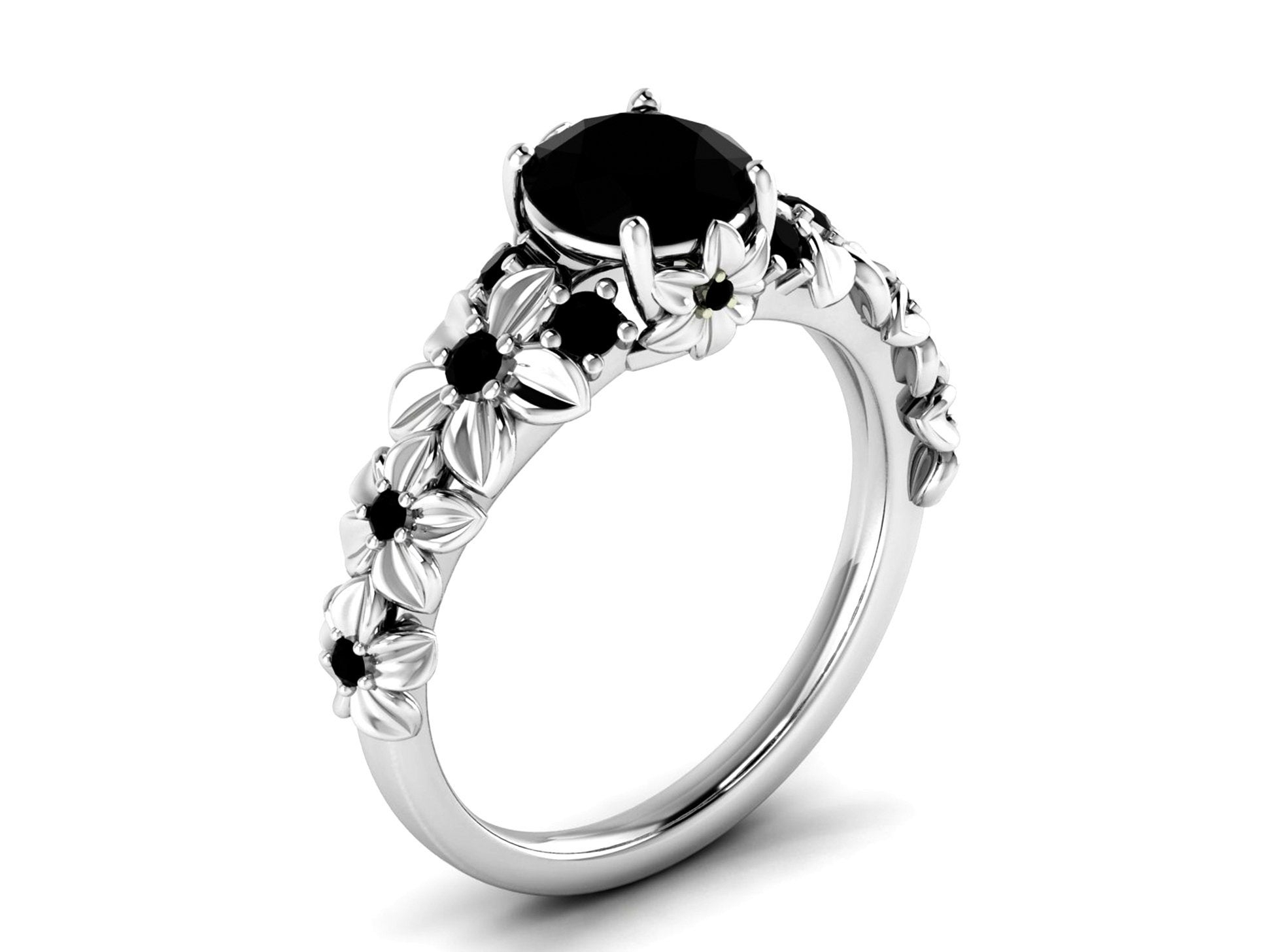 Sterling Silver Black Onyx Ring Black Spinel Ring Black Onyx Rings For Women Black Stone Rings For Women Silver Onyx Ring Anniversary Rings Throughout Most Up To Date Enhanced Black And White Diamond Vintage Style Anniversary Bands In Sterling Silver (Gallery 18 of 25)