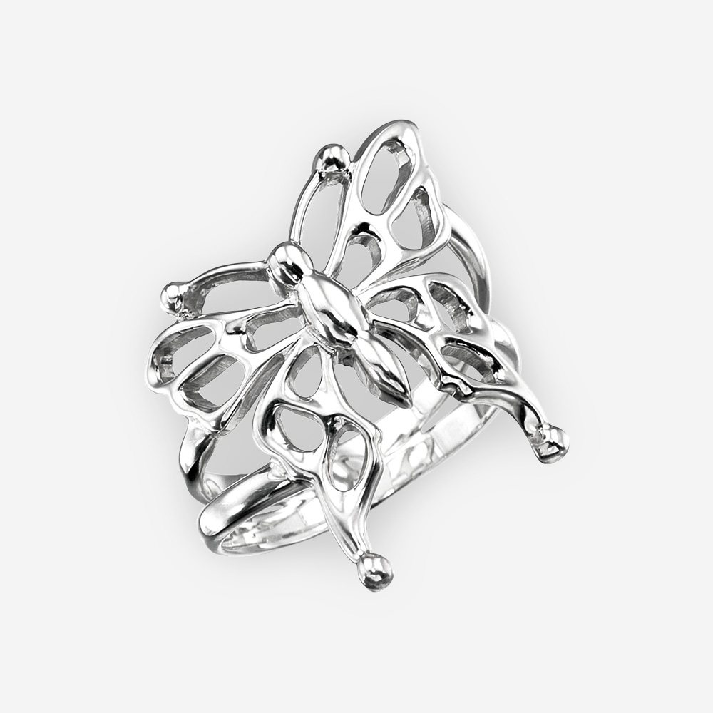 Sterling Silver Butterfly Ring With Openwork Details Intended For Most Current Openwork Butterfly Rings (View 18 of 25)