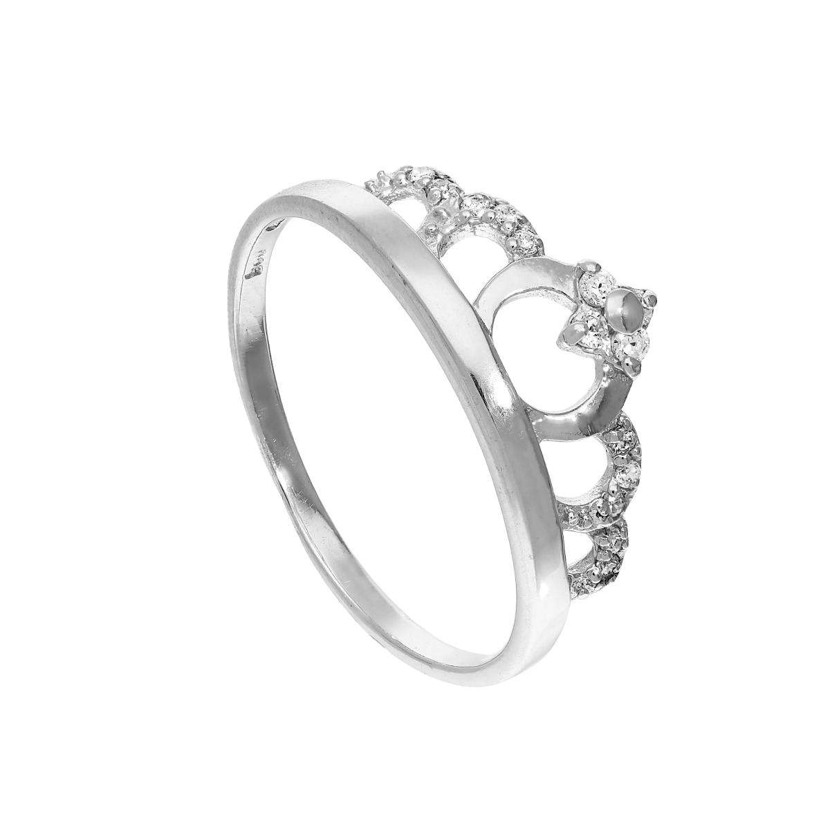 Sterling Silver & Clear Cz Crystal Tiara Ring Sizes J – U Pertaining To 2018 Tiara Wishbone Rings (View 13 of 25)
