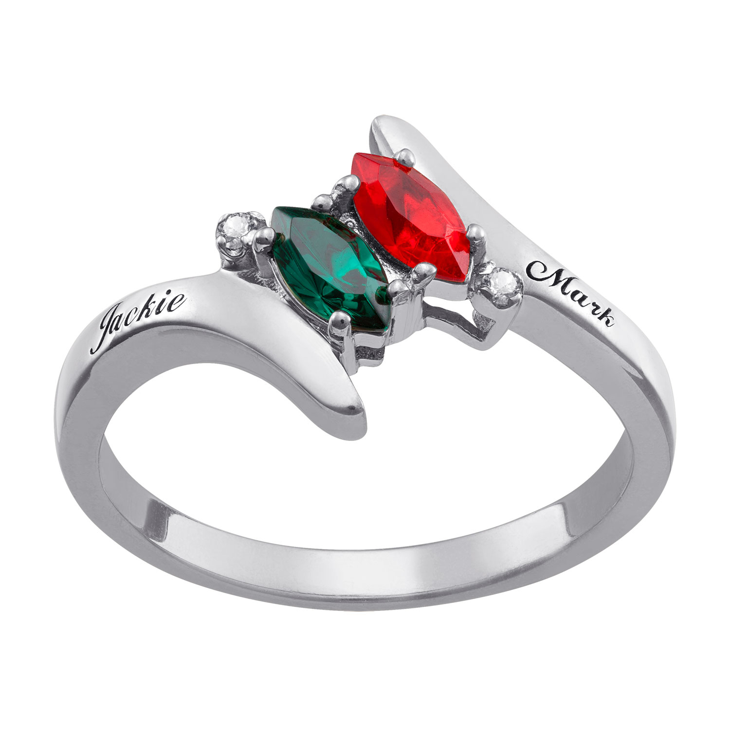 Sterling Silver Couple's Marquise Birthstone Name Ring With Diamond Accent Regarding Most Up To Date Diamond Accent Anniversary Bands In Sterling Silver (Gallery 22 of 25)