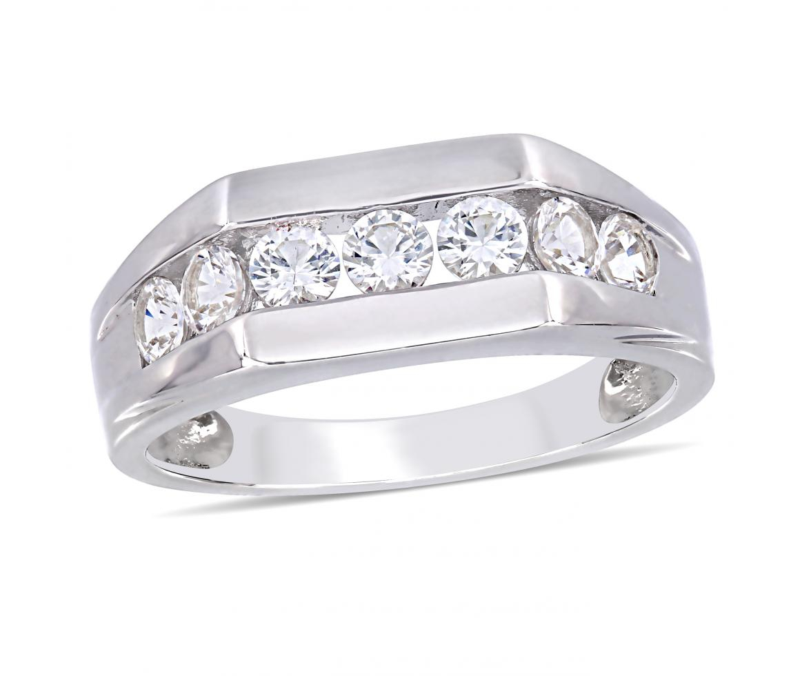 Sterling Silver Created White Sapphire Gents Ring Regarding Most Current Enhanced Black And White Diamond Anniversary Bands In Sterling Silver (Gallery 19 of 25)