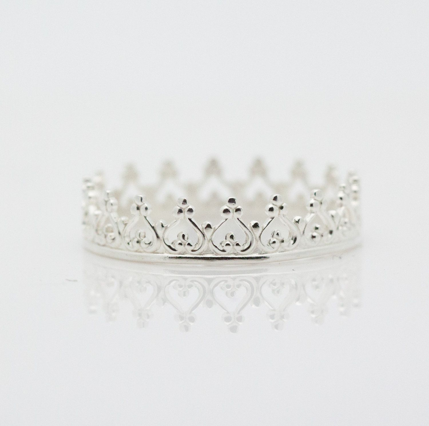 Sterling Silver Crown Ring. Dainty Princess Crown Ring (View 3 of 25)
