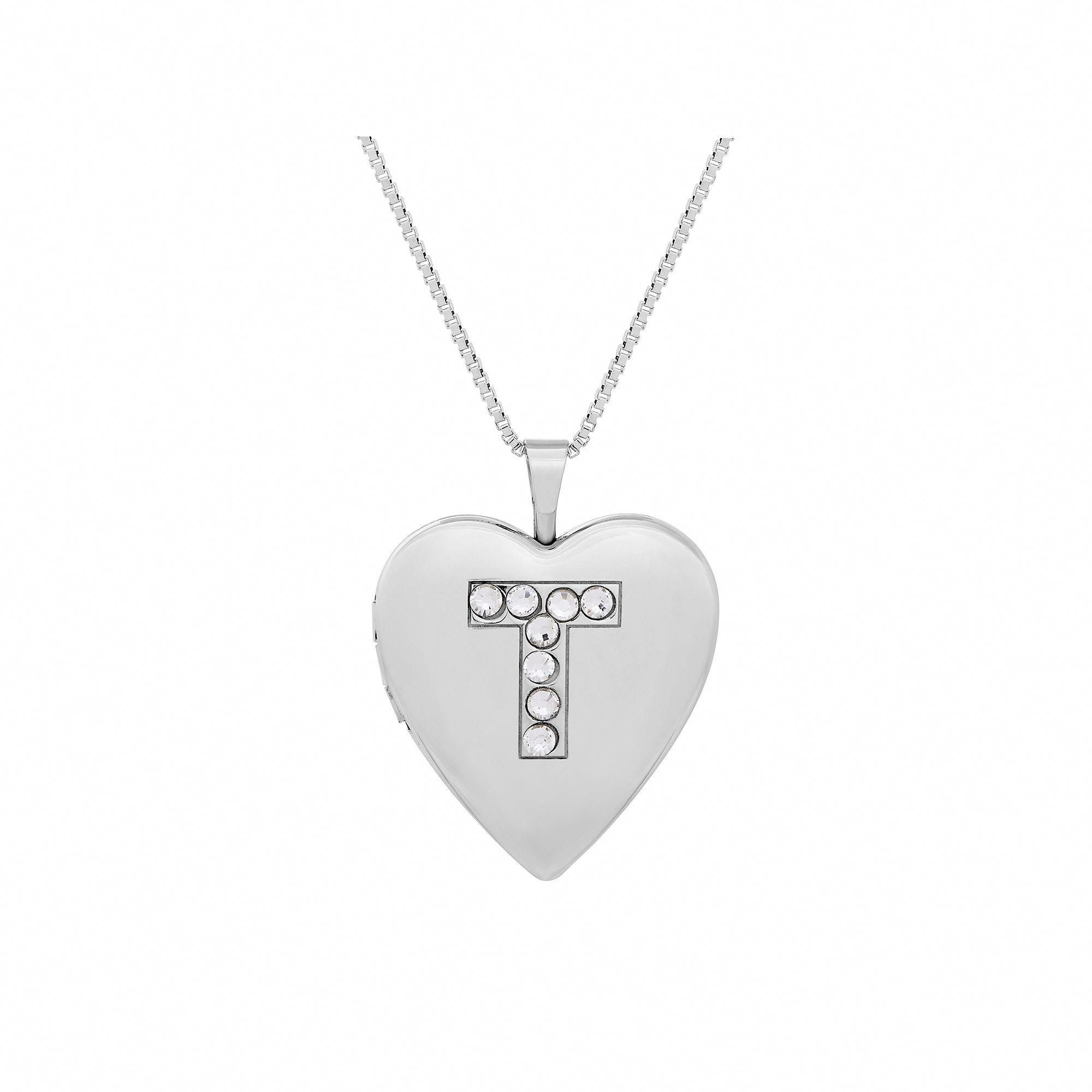 Sterling Silver Crystal Monogram Heart Locket Necklace, Women's Intended For Current Heart Locket Plate Necklaces (View 23 of 25)