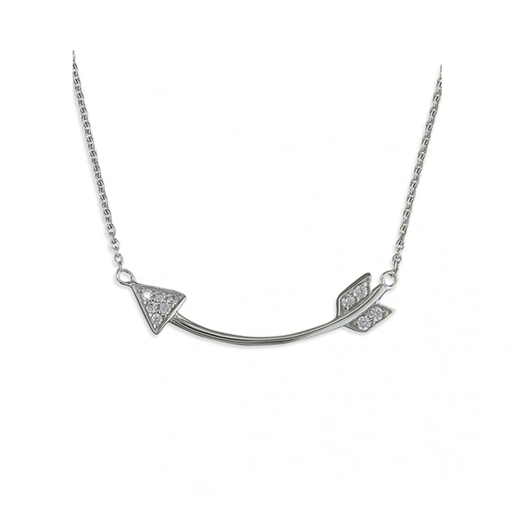 Sterling Silver Cubic Zirconia Curved Arrow Necklace With Most Popular Sparkling Arrow Necklaces (View 14 of 25)