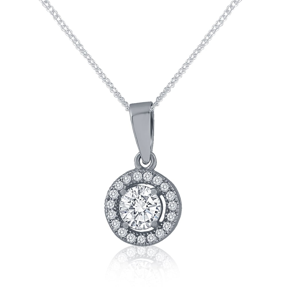 Sterling Silver Cubic Zirconia Round Halo Pendant And Chain In Most Current Square Sparkle Halo Pendant Necklaces (View 22 of 25)