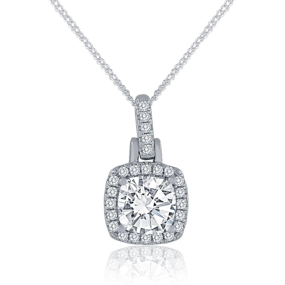 Sterling Silver Cubic Zirconia Square Halo Cluster Pendant And Chain Within Most Recently Released Square Sparkle Halo Necklaces (View 22 of 25)