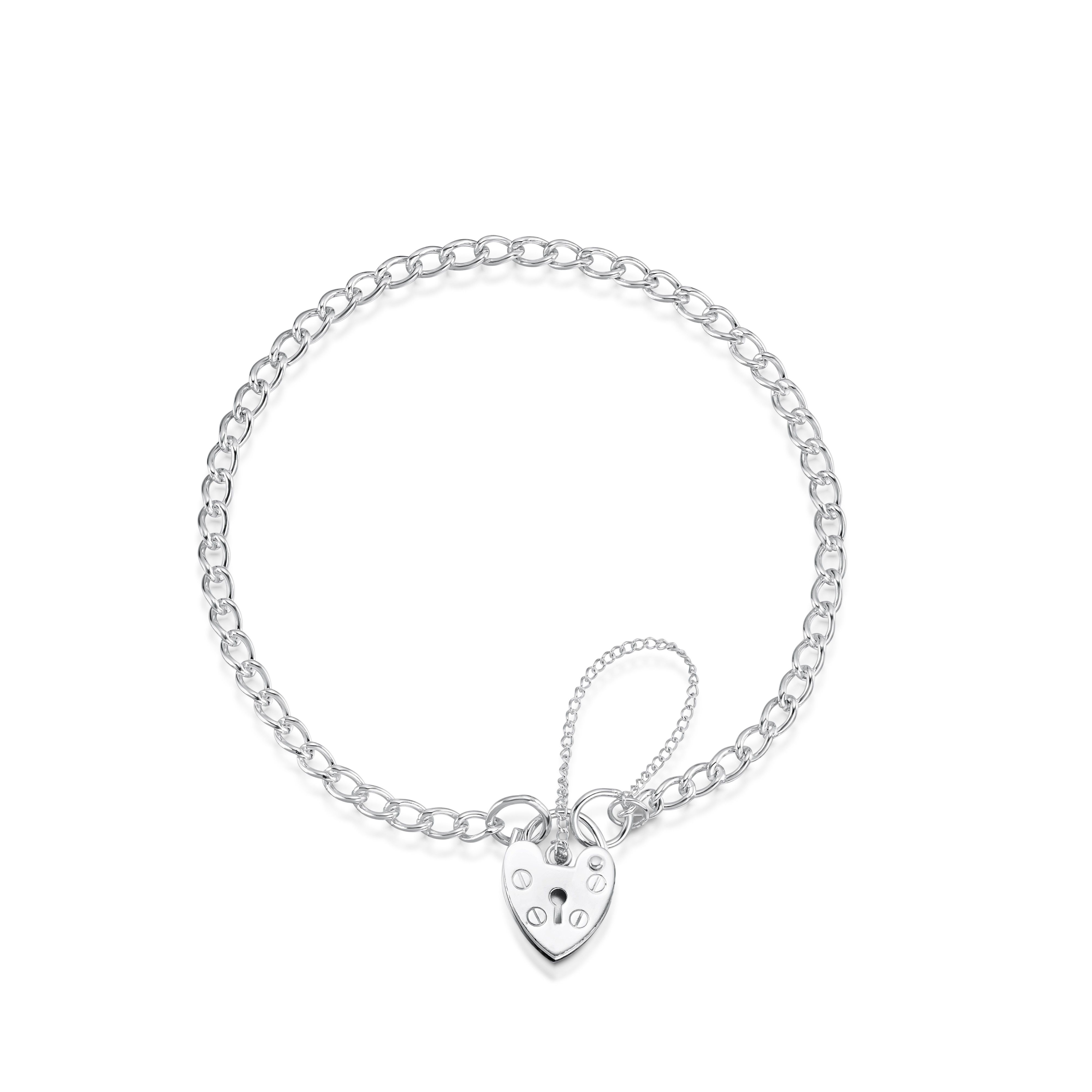 Sterling Silver Curb Charm Bracelet With Heart Shape Padlock Throughout Best And Newest Heart Shaped Padlock Necklaces (Gallery 4 of 25)