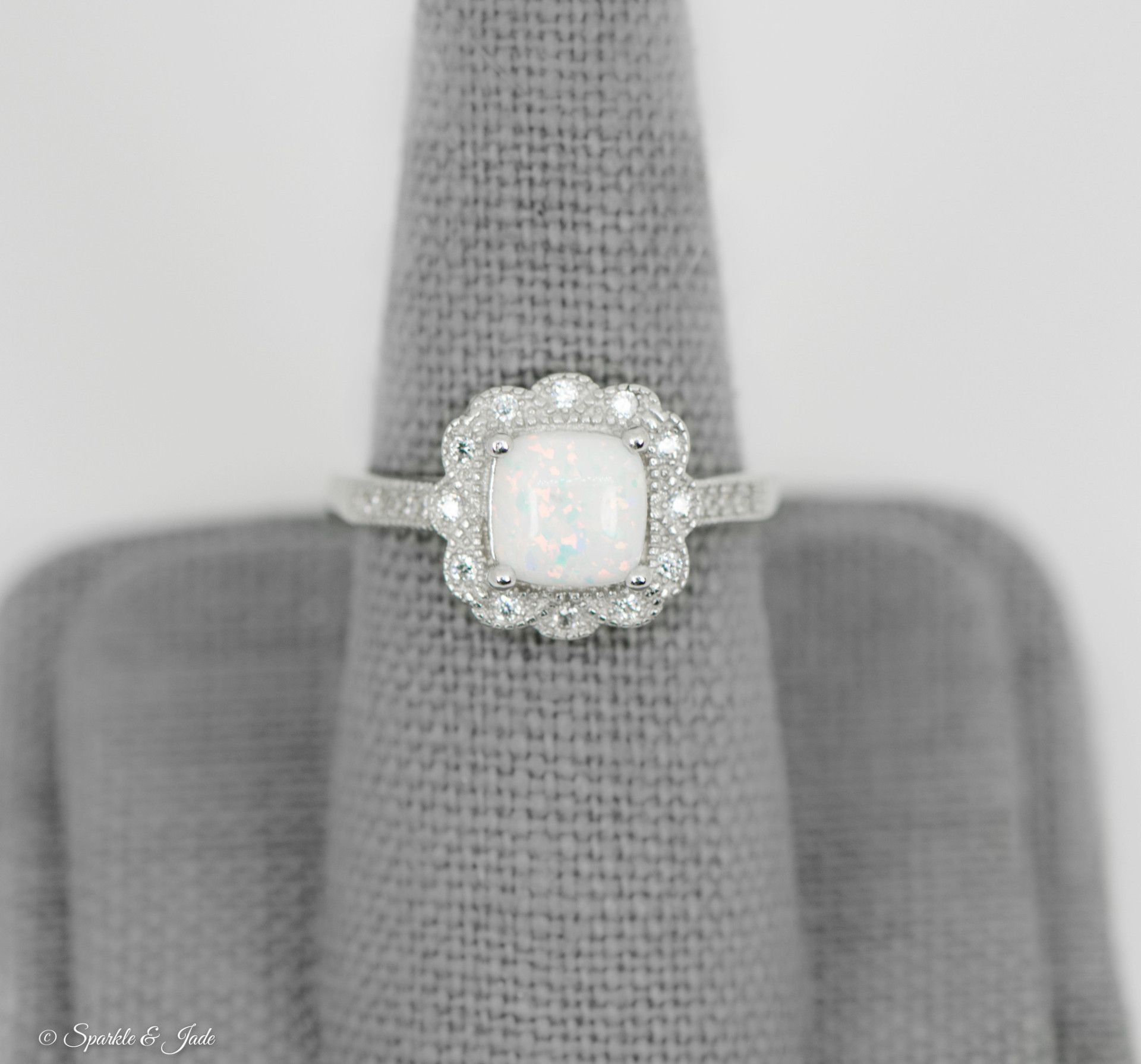 Sterling Silver Cushion Cut Opal Floral Halo Ring  Sparkle & Jade Inside Most Popular Sparkling Square Halo Rings (Gallery 12 of 25)