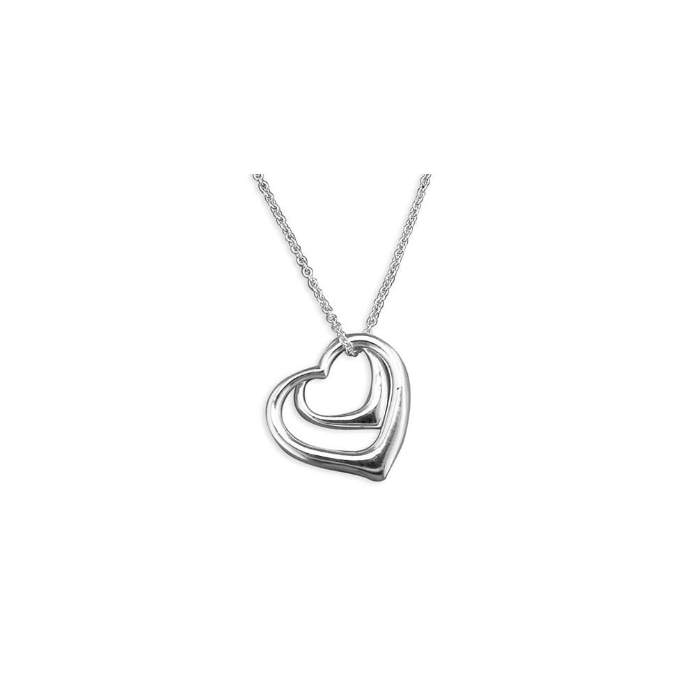 Sterling Silver Double Open Heart Necklace Throughout Recent Open Heart Necklaces (View 18 of 25)