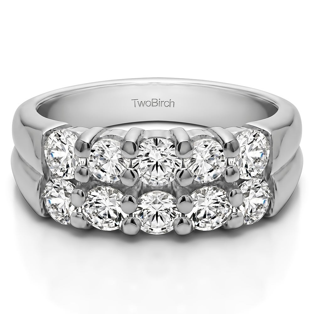 Sterling Silver Double Row Shared Prong Ten Stone Anniversary Band With  Diamonds (G H, I2) (0.76 Cts (View 22 of 25)