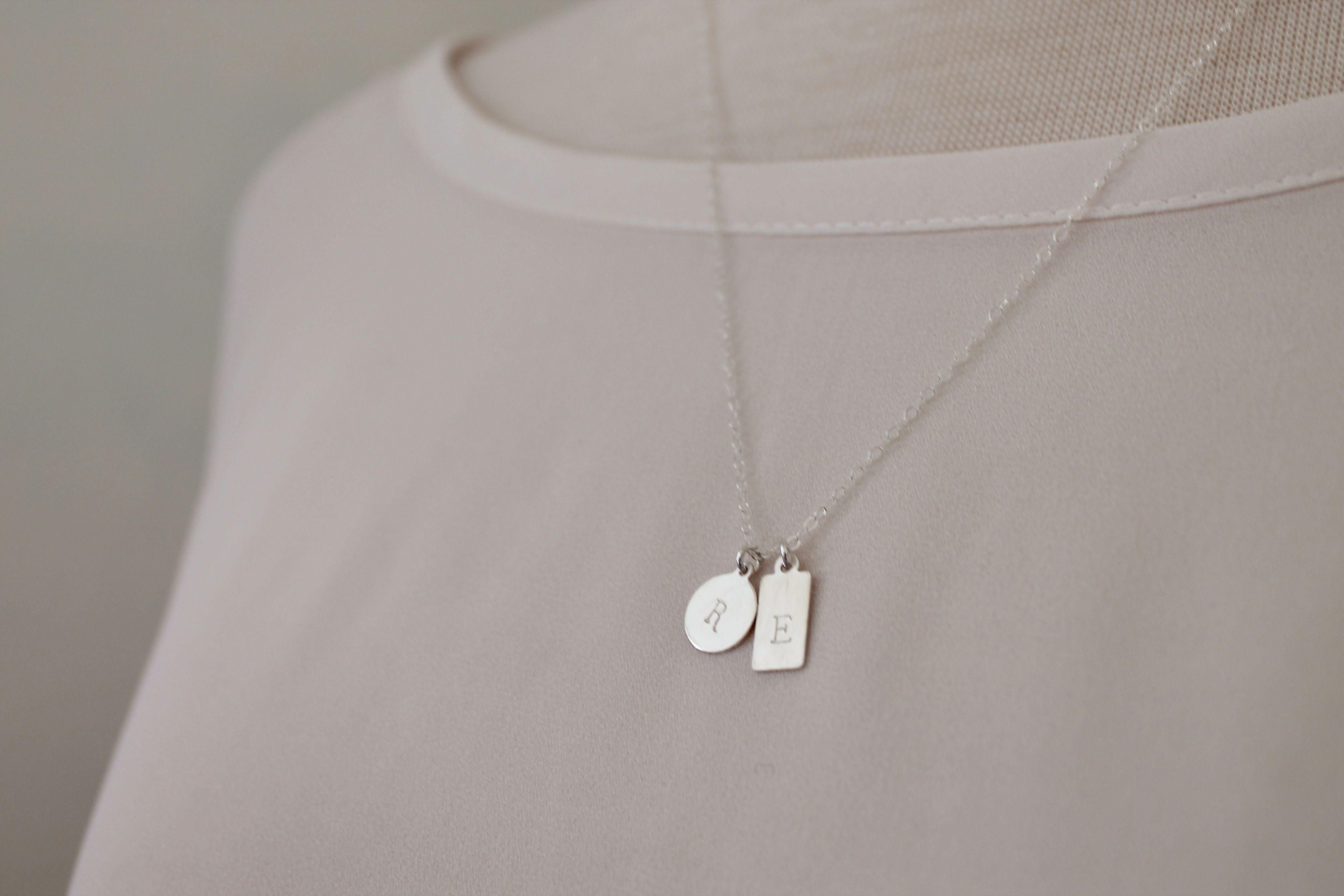 Sterling Silver Duo Tag Necklace | Personalized Necklace | Mini Tag Necklace For Most Recently Released Ampersand Alphabet Locket Element Necklaces (Gallery 8 of 25)