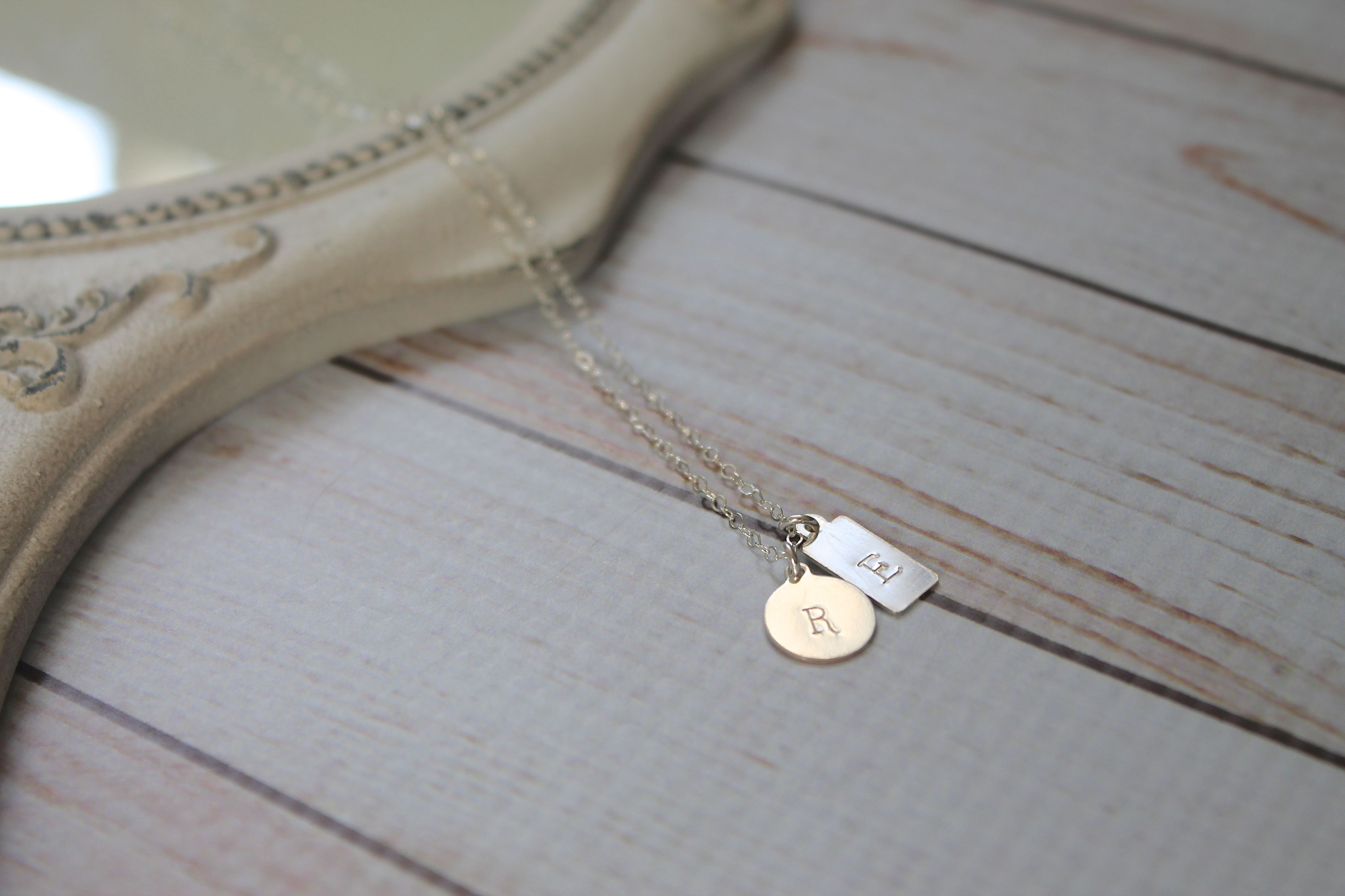 Sterling Silver Duo Tag Necklace | Personalized Necklace | Mini Tag Necklace Regarding Recent Ampersand Alphabet Locket Element Necklaces (Gallery 19 of 25)