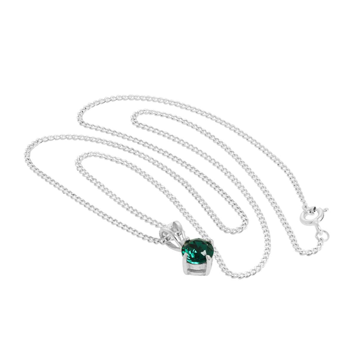 Sterling Silver & Emerald Crystal Made With Swarovski Elements May Birthstone Pendant Necklace 16 – 24 Inches | Jewellerybox.co (View 9 of 25)