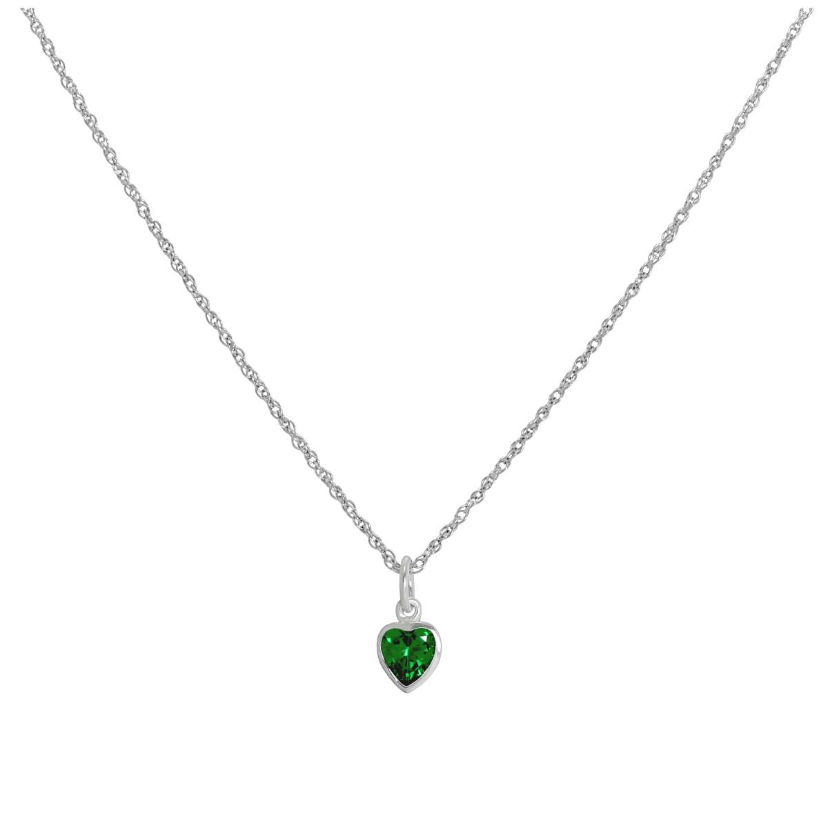 Sterling Silver Emerald Green Heart Crystal Pendant Necklace 14 – 22 Inches Within Latest Royal Green Crystal May Droplet Pendant Necklaces (View 21 of 25)