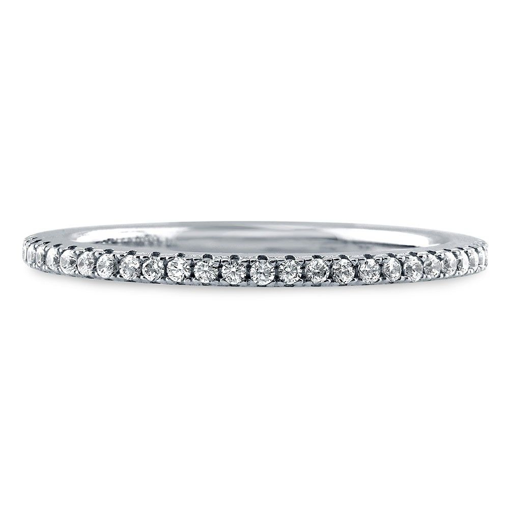 Sterling Silver Eternity Ring Made With Swarovski Zirconia Regarding 2020 Enhanced Black And White Diamond Anniversary Bands In Sterling Silver (Gallery 25 of 25)