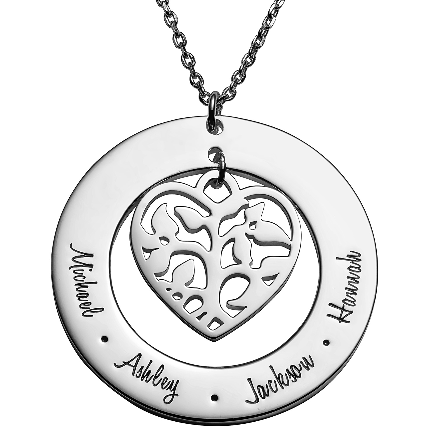 Sterling Silver Family Name And Heart Family Tree Necklace Throughout Most Recently Released Sparkling Family Tree Necklaces (View 22 of 25)