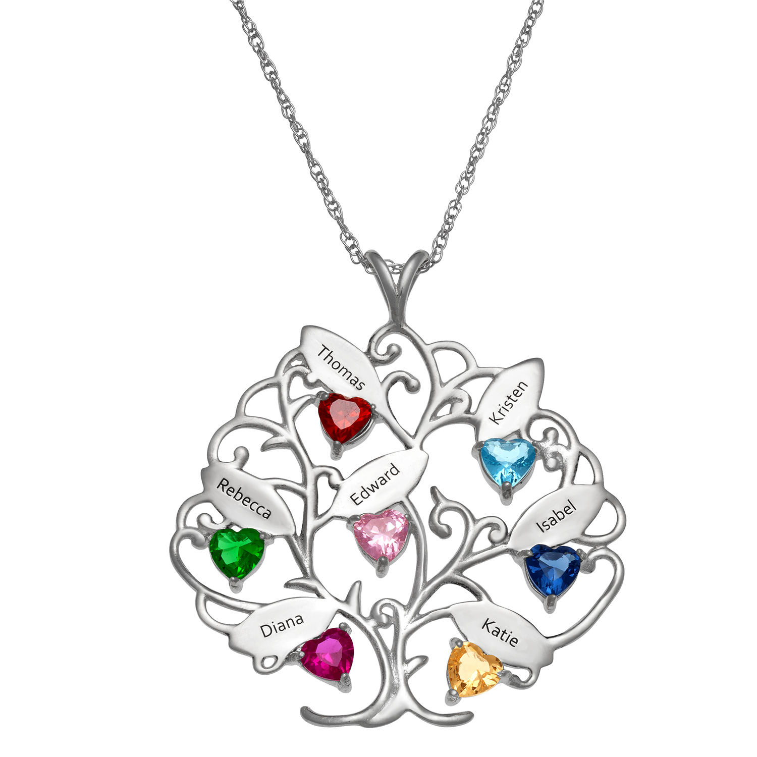 Sterling Silver Family Name Tree And Birthstone Heart Pendant In Latest Family Tree Heart Pendant Necklaces (Gallery 19 of 25)