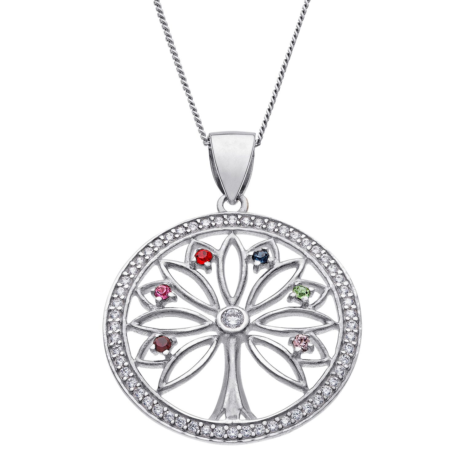 "Sterling Silver Family ""tree Of Life"" Birthstone Pendant With 2020 Sparkling Family Tree Necklaces (View 21 of 25)"