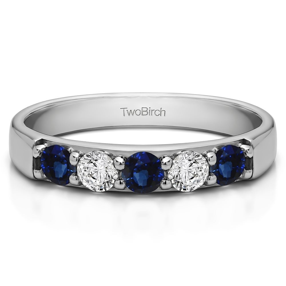Sterling Silver Five Stone Pave Set Anniversary Band With Genuine Sapphire & Diamonds (1 Cts (View 4 of 25)