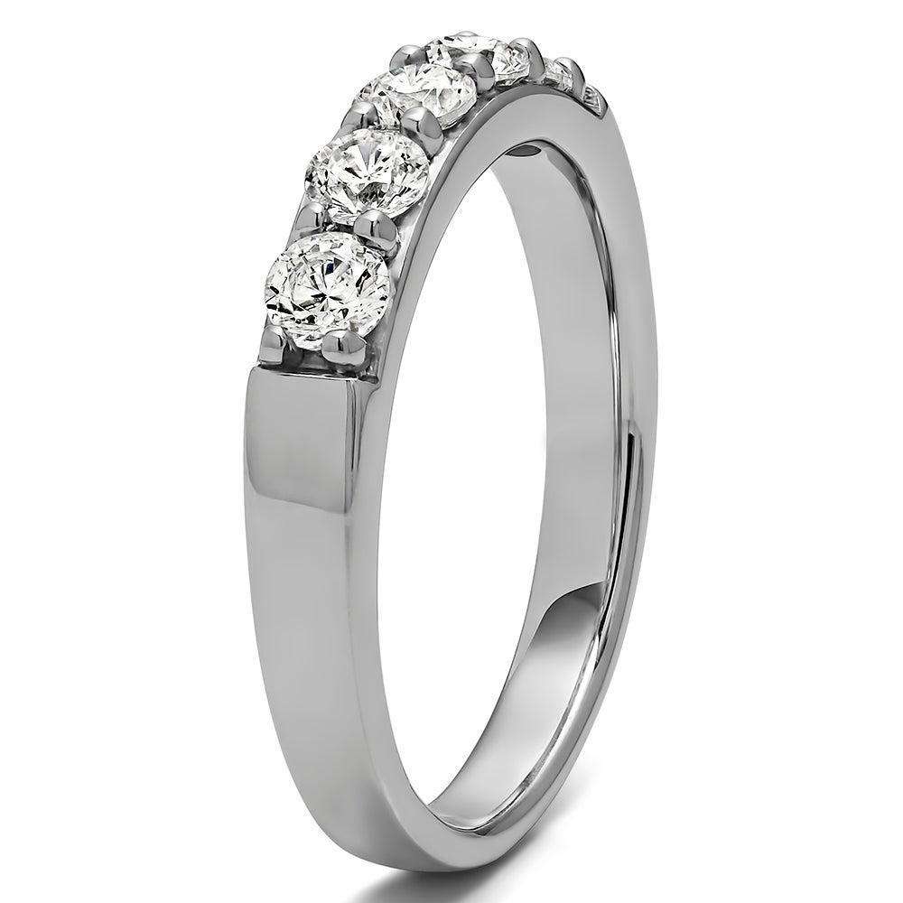 Sterling Silver Five Stone Pave Set Anniversary Band With Genuine Sapphire & Diamonds (1 Cts (View 6 of 25)
