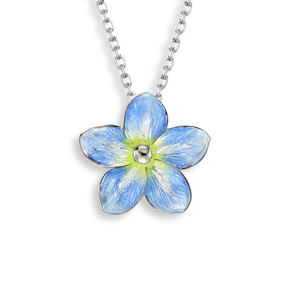 Sterling Silver Forget Me Not Necklace With Diamond, Blue Or Purple Regarding Newest Forget Me Not Necklaces (View 6 of 25)