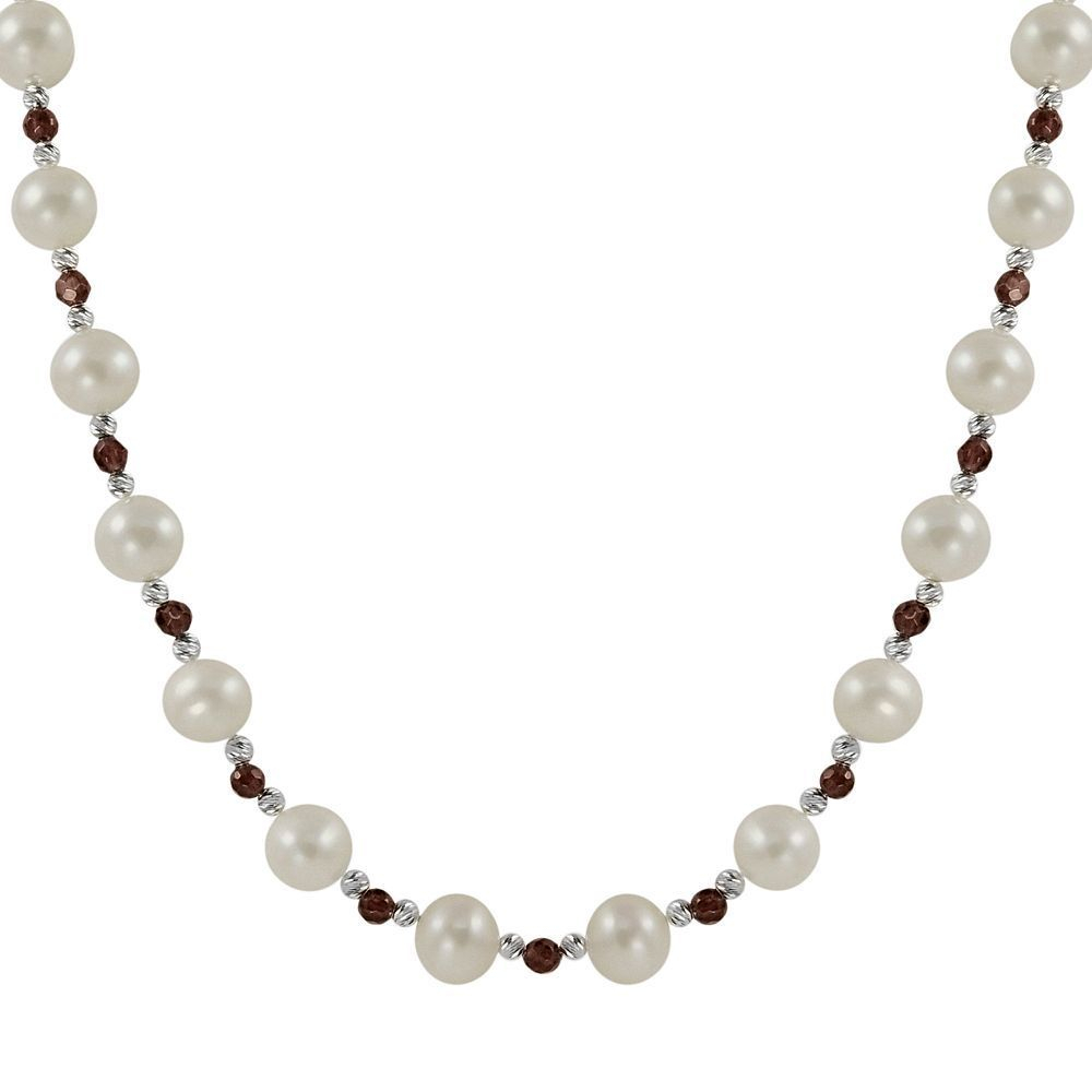 Sterling Silver Freshwater Cultured Pearl & Garnet Bead Necklace With Most Popular Freshwater Cultured Pearls & Beads Necklaces (Gallery 2 of 25)