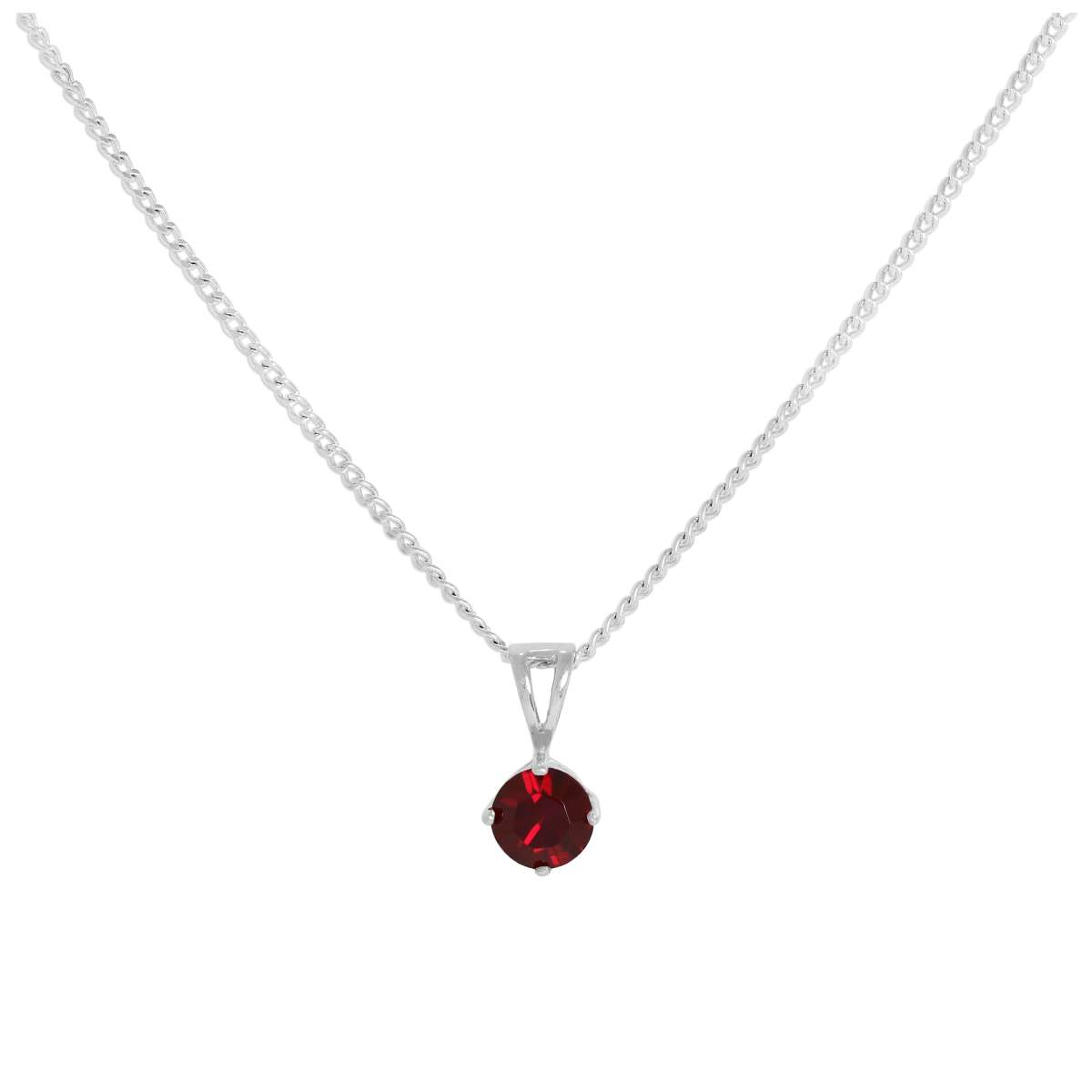 Sterling Silver & Garnet Crystal Made With Swarovski Elements January Birthstone Pendant Necklace 16 – 24 Inches | Jewellerybox.co (View 2 of 25)