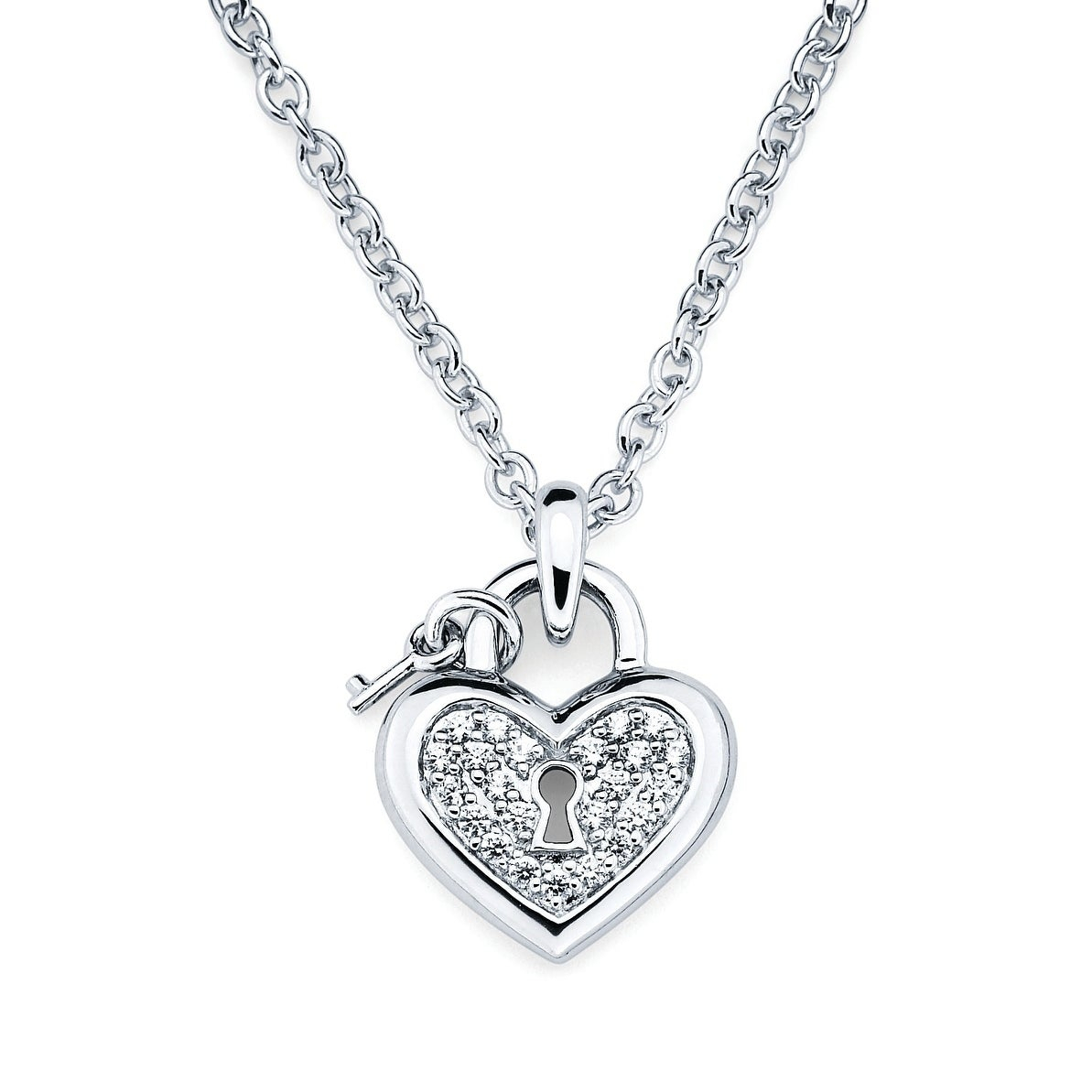 "Sterling Silver Heart Lock And Key White Swarovski Elements Zirconia Charm Necklace With 17"" Rolo Chain Intended For Recent Heart Padlock Locket Element Necklaces (View 8 of 25)"