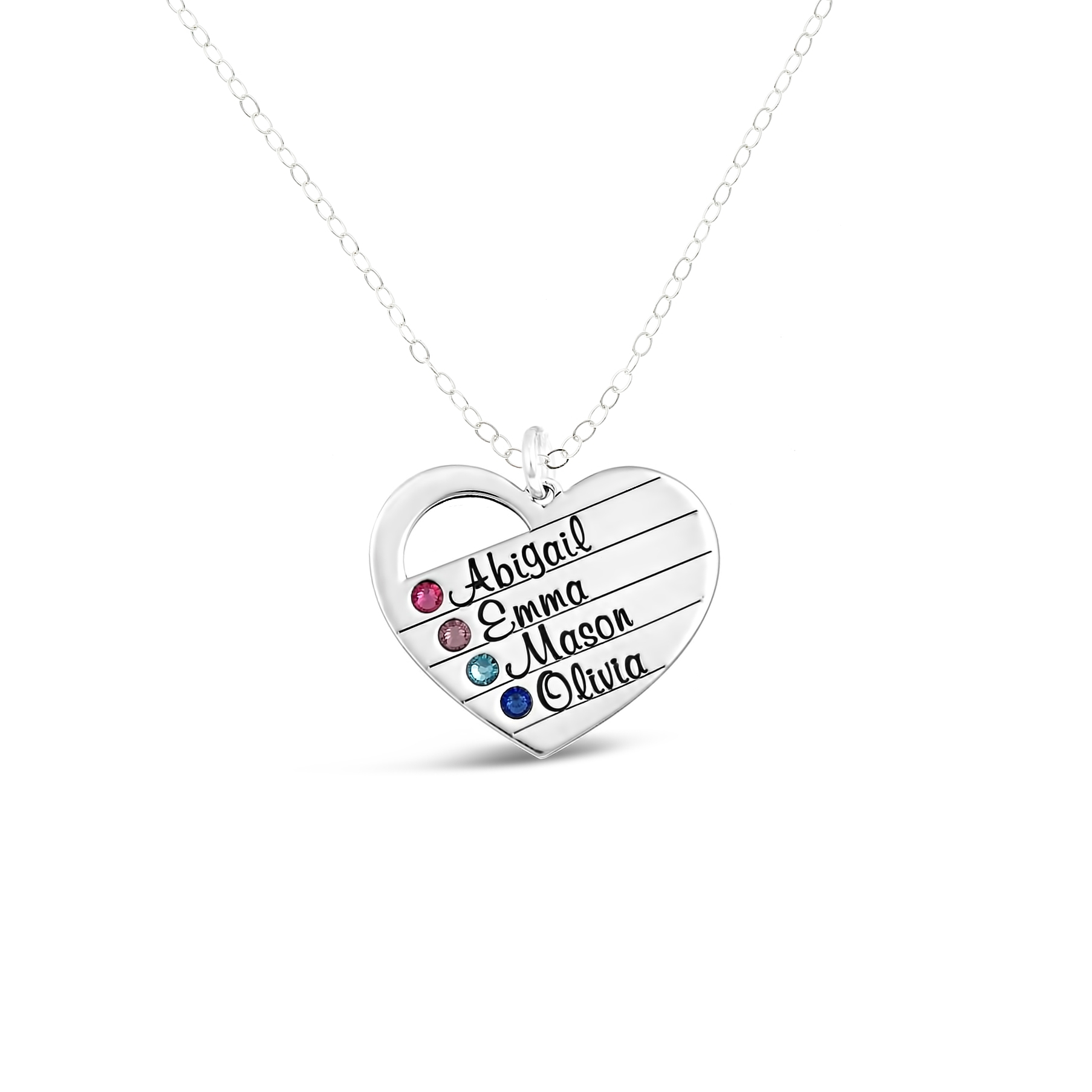 Sterling Silver Heart Name Necklace With Swarovski Birthstone With Regard To Recent Heart Of Winter Necklaces (View 20 of 25)
