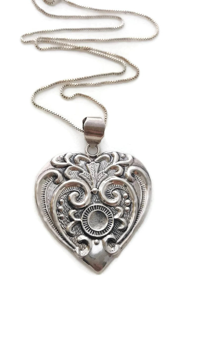 Sterling Silver Heart Necklace, Filigree Necklace, Silver Victorian  Jewelry, Repousse Jewelry For Women Pendant Necklace, Gifts For Women For Recent Ornate Hearts Tassel Necklaces (Gallery 12 of 25)