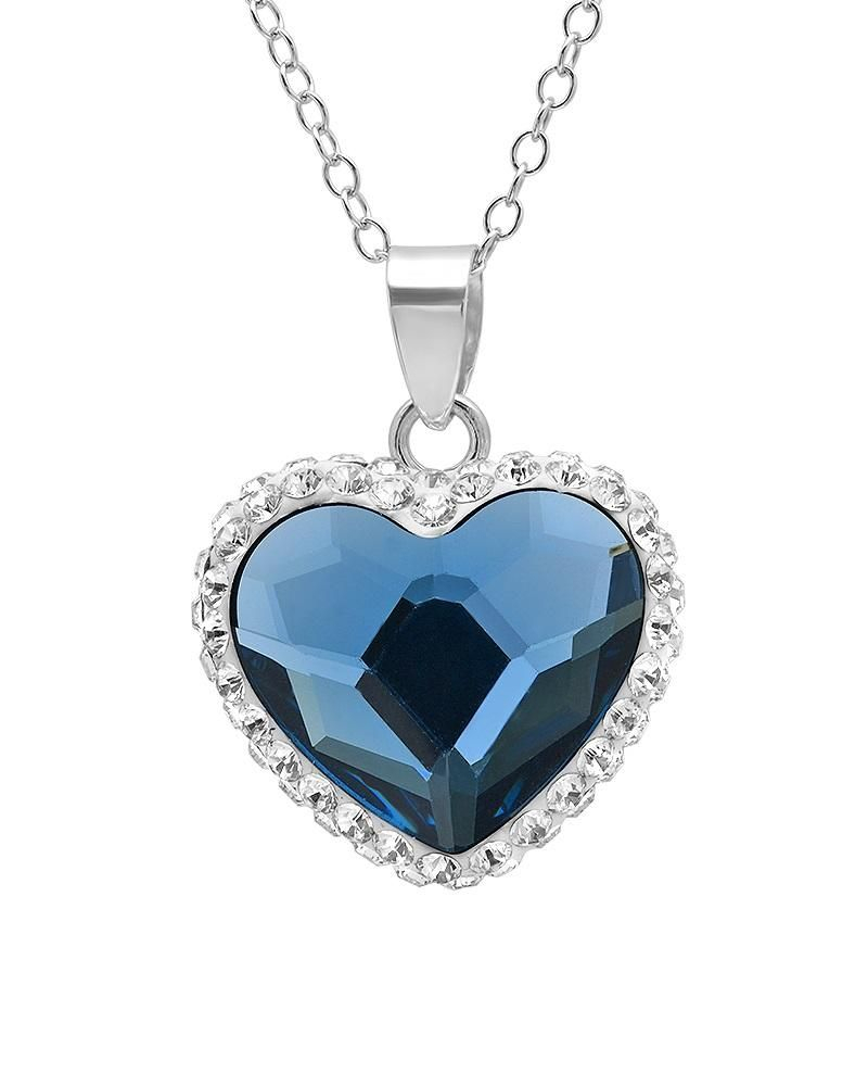 Sterling Silver Heart Pendant With Blue And White Swarovski Crystals Inside Most Recently Released Ice Crystal Heart Collier Necklaces (View 8 of 25)