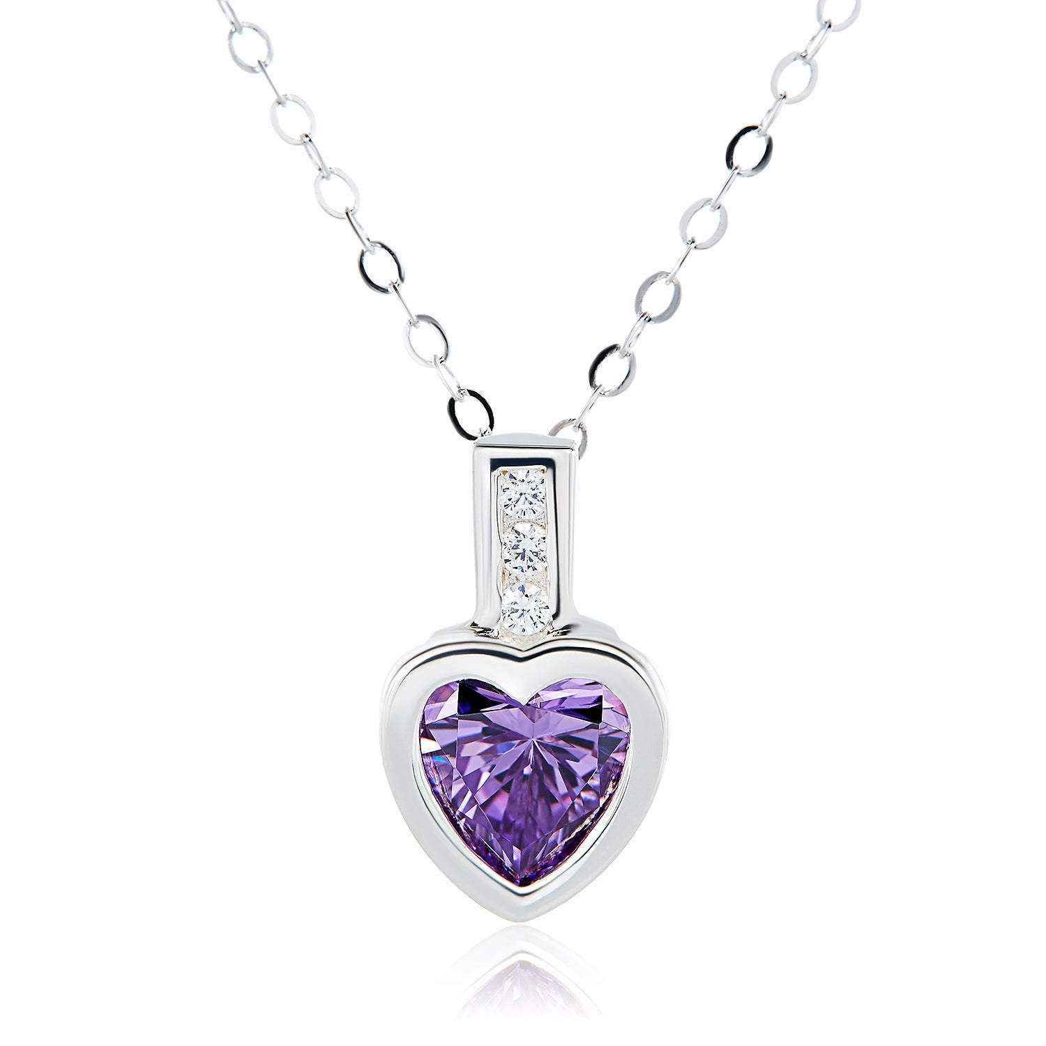 Sterling Silver Heart Swarovski Austrian Crystal Birthstone Necklace Pertaining To Recent Red July Birthstone Locket Element Necklaces (Gallery 16 of 25)