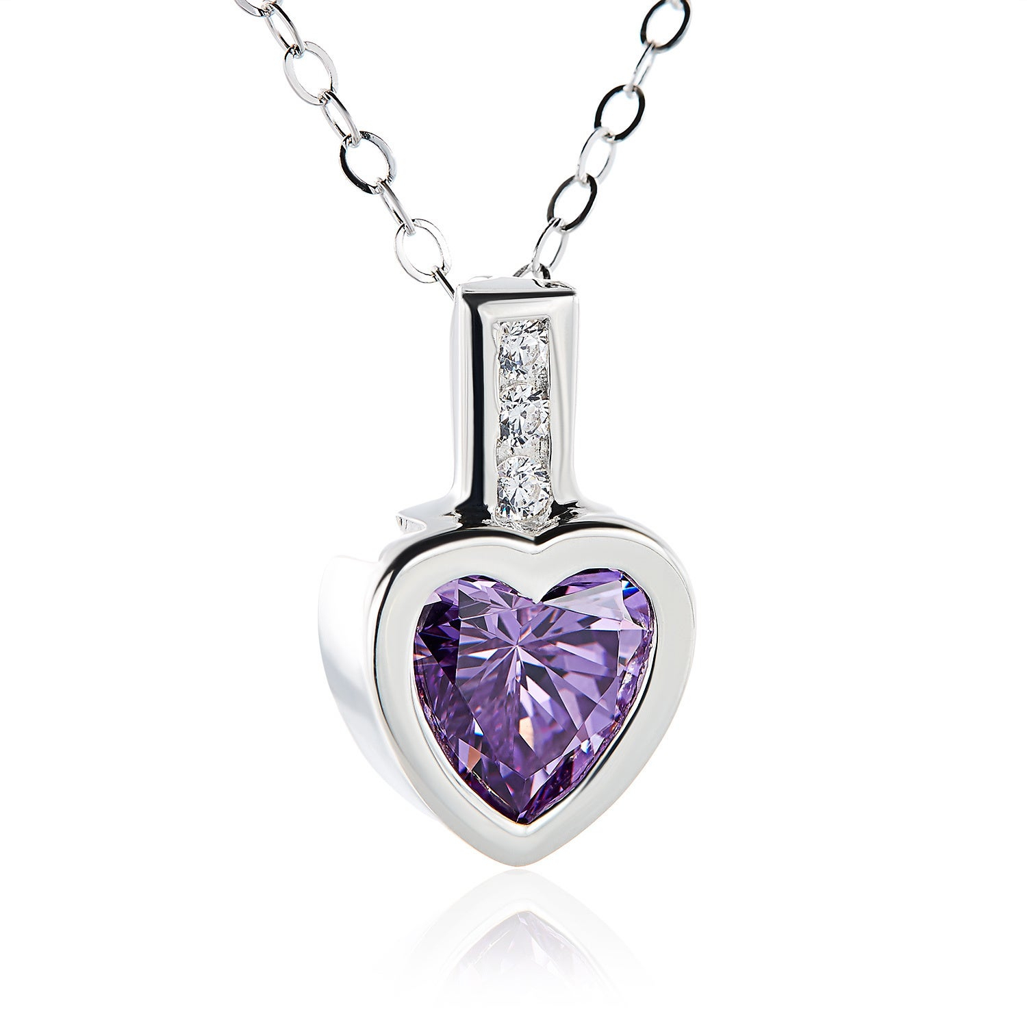 Sterling Silver Heart Swarovski Austrian Crystal Birthstone Necklace Within Most Popular Purple February Birthstone Locket Element Necklaces (Gallery 18 of 25)