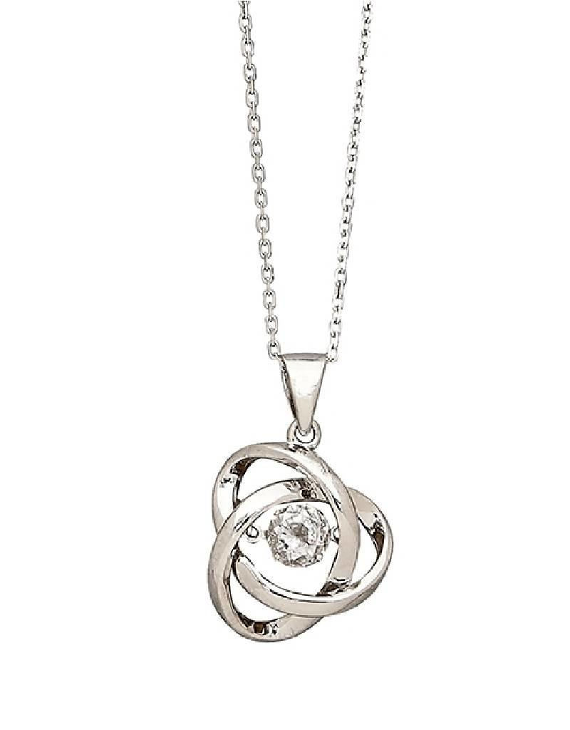 "Sterling Silver Knot With Dancing/shimmering Cubic Zirconia Necklace 18"" With 2019 Shimmering Knot Pendant Necklaces (Gallery 1 of 25)"