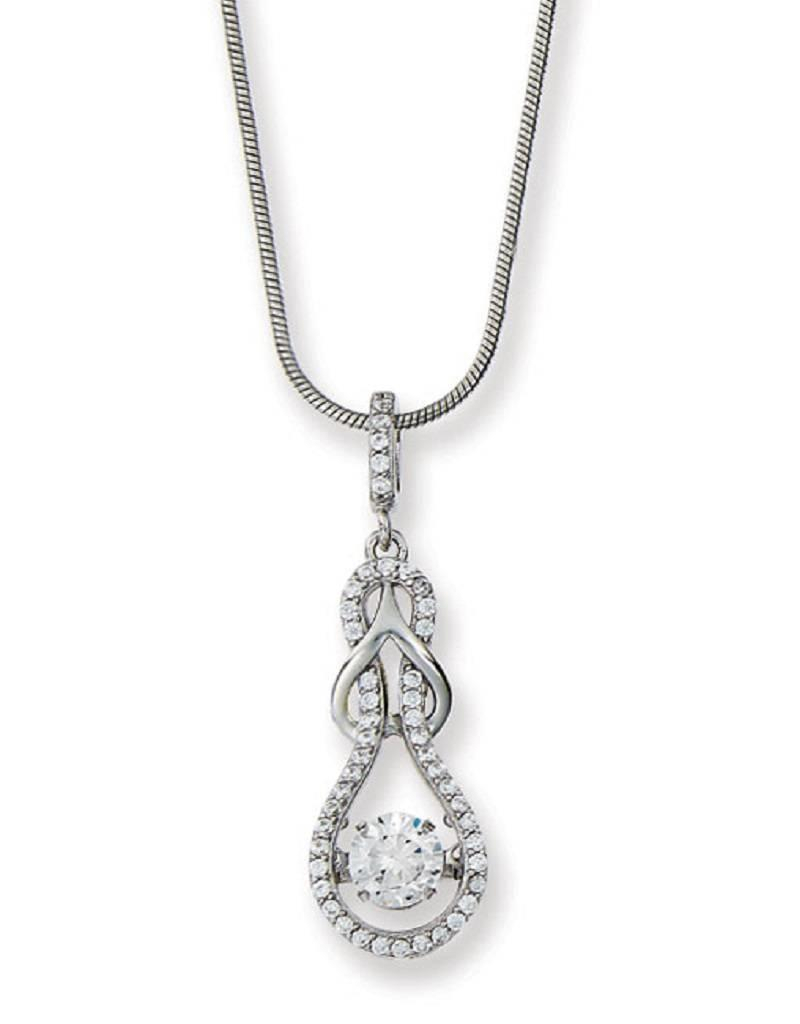 "Sterling Silver Love Knot With Dancing/shimmering Cubic Zirconia Necklace 18"" Regarding Most Recently Released Shimmering Knot Pendant Necklaces (View 8 of 25)"