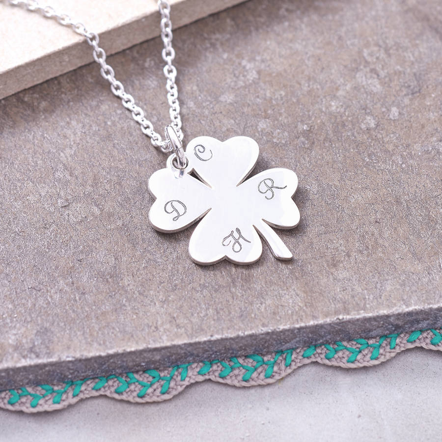 Sterling Silver Lucky Four Leaf Clover Necklacehurleyburley With Most Up To Date Lucky Four Leaf Clover Pendant Necklaces (View 3 of 25)