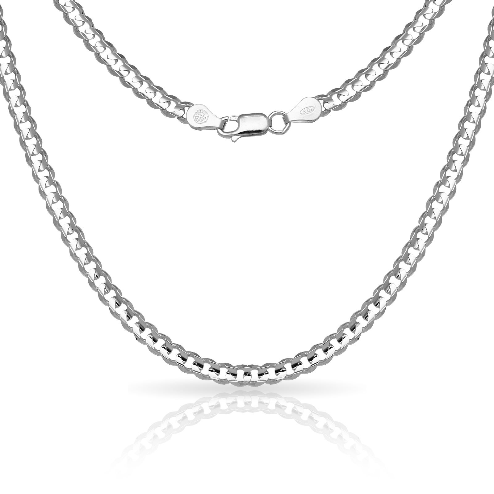 "Sterling Silver Men's Italian 6mm Concave Curb Chain Necklace (18"" 30"") In Best And Newest Curb Chain Necklaces (View 2 of 25)"