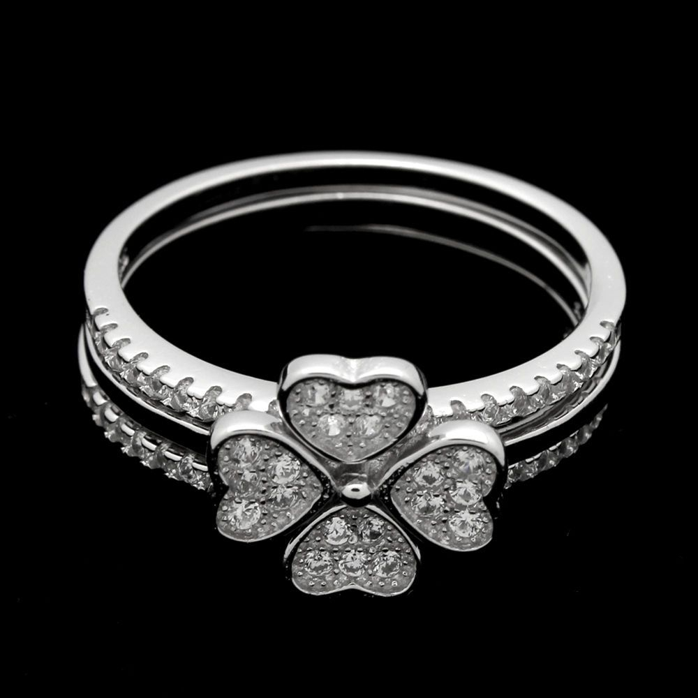 Sterling Silver Micropave Cz Hearts 4 Leaf Clover Trio Puzzle Ring With Most Up To Date Pavé Puzzle Heart Rings (Gallery 9 of 25)