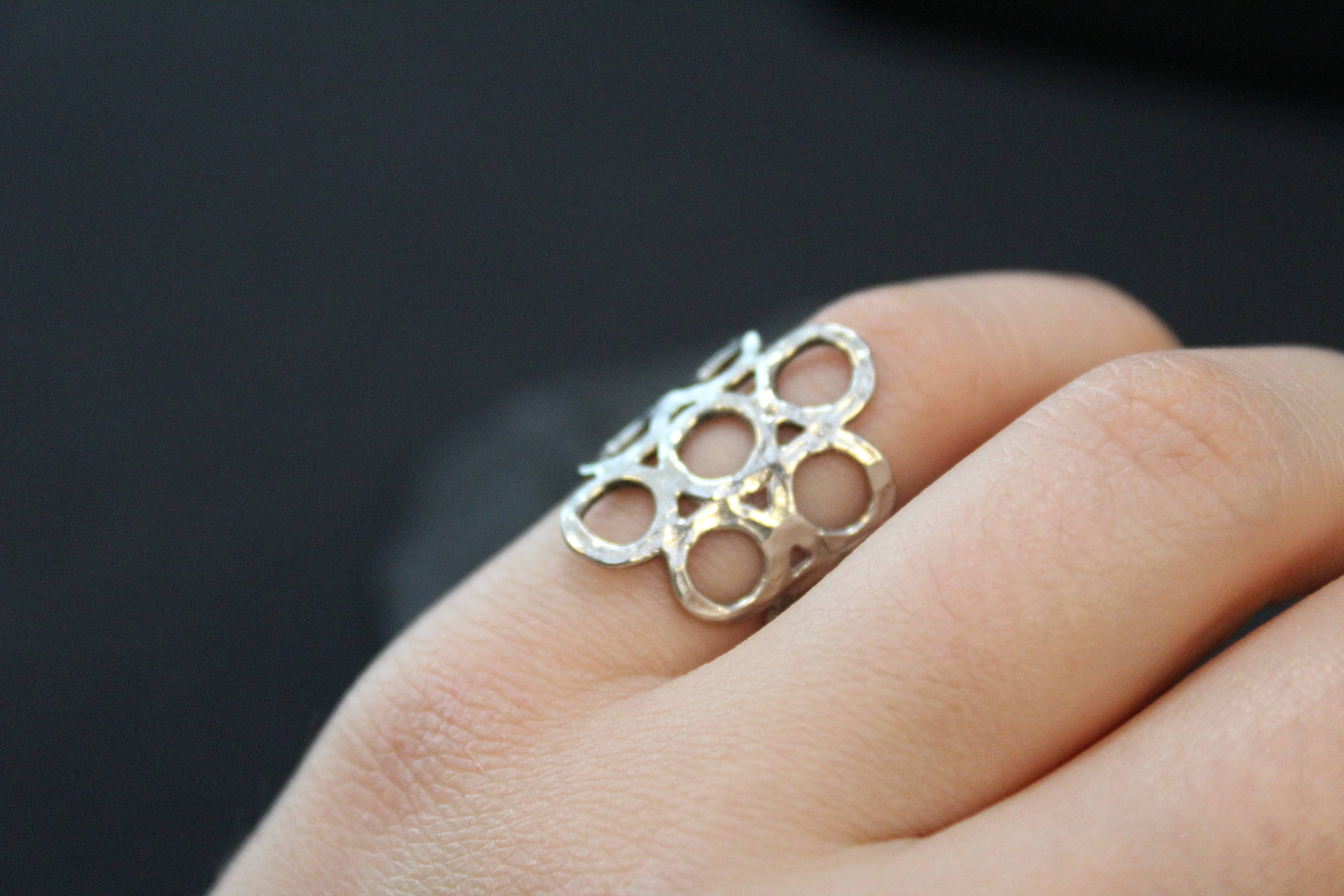 Sterling Silver Modern Open Circle Ring, Open Circle Jewelry For Most Up To Date Honeycomb Lace Rings (Gallery 20 of 25)