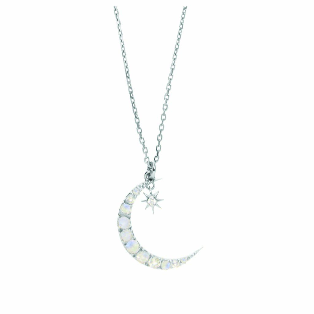 Sterling Silver Moon & Star Pendant In Moonstone & Diamond Throughout Most Popular Polished Moon & Star Pendant Necklaces (Gallery 2 of 25)