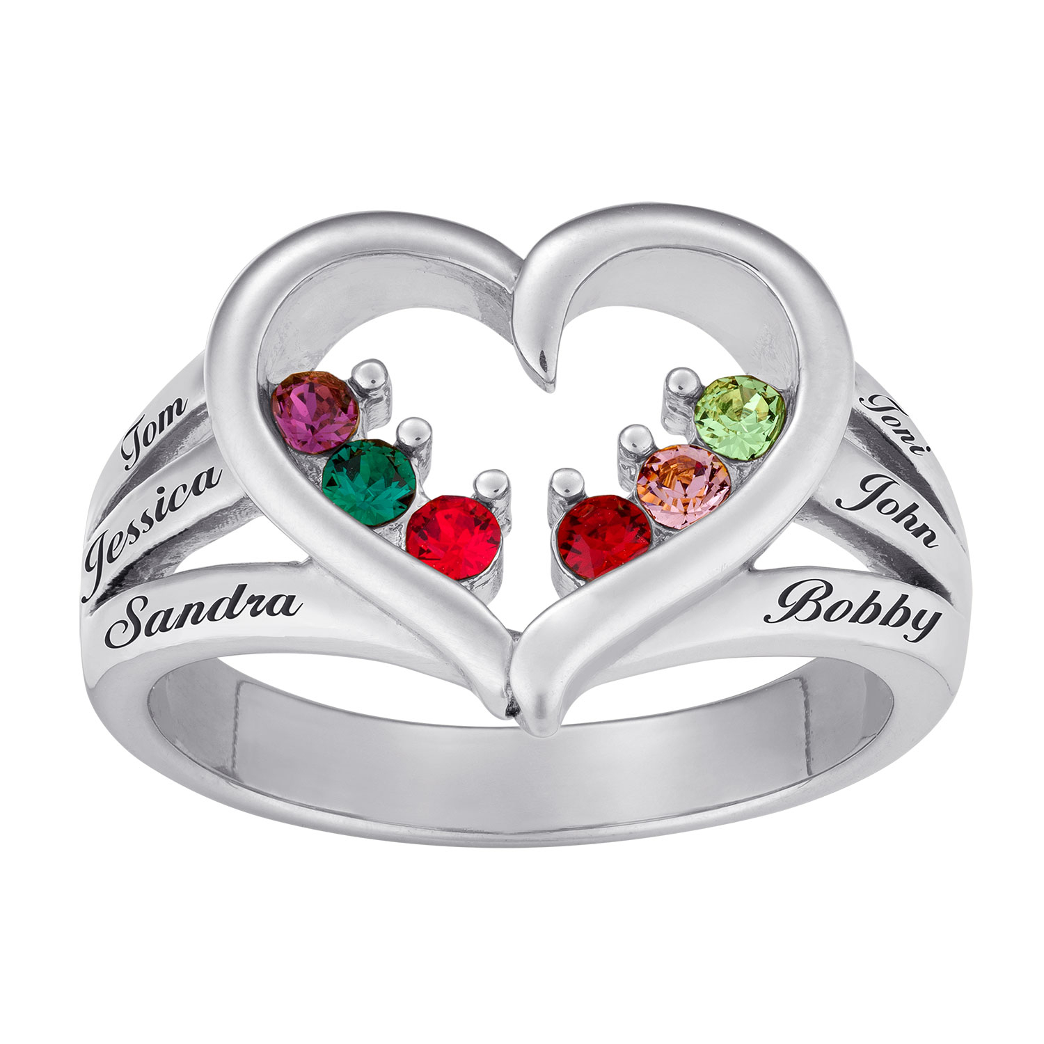 Sterling Silver Mother's Birthstone Heart & Name Ring In Recent Polished Heart Open Rings (Gallery 22 of 25)