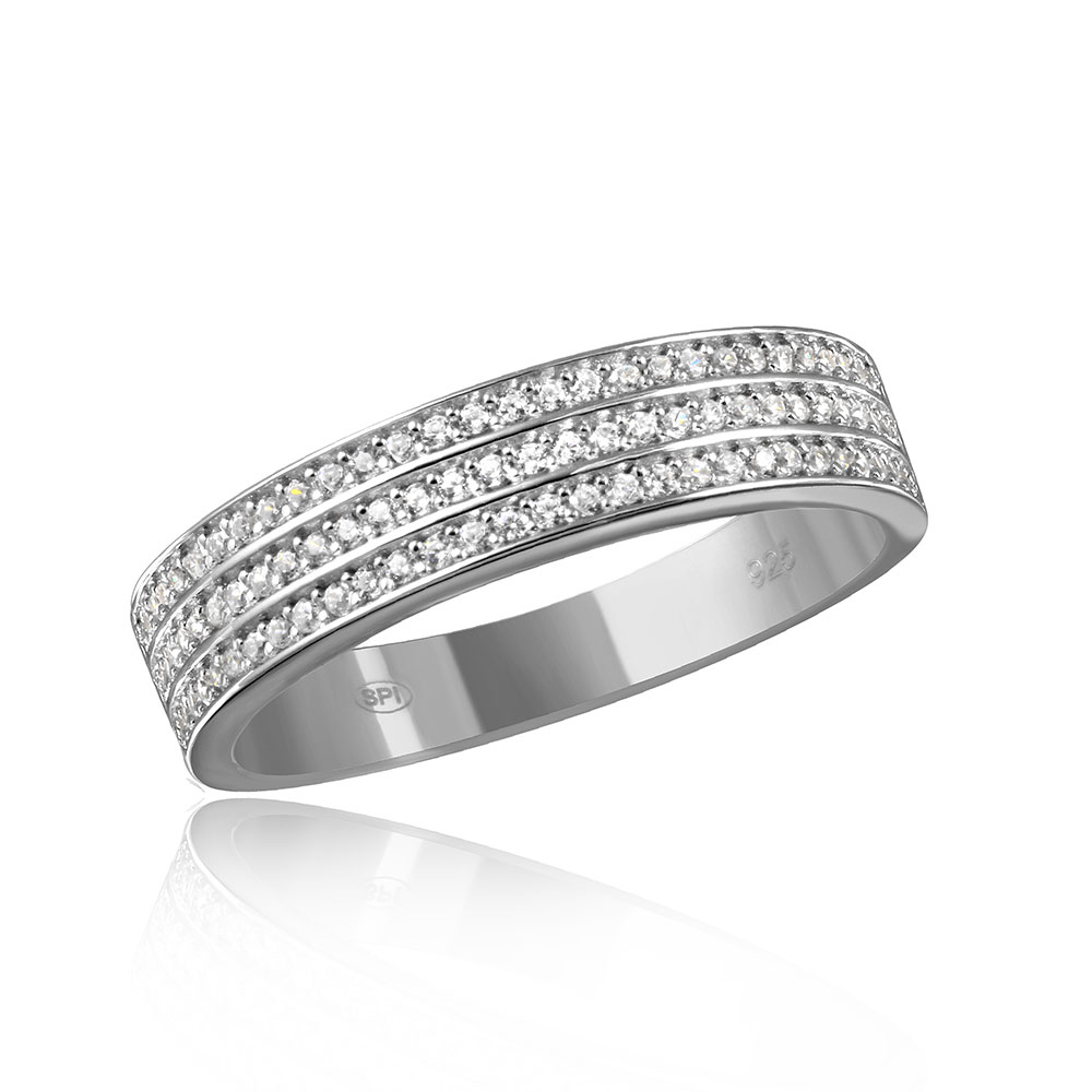 Sterling Silver Multi Row Men'S Wedding Band Sgmr00123Rh Regarding Most Recent Diamond Two Row Anniversary Bands In Sterling Silver (View 23 of 25)