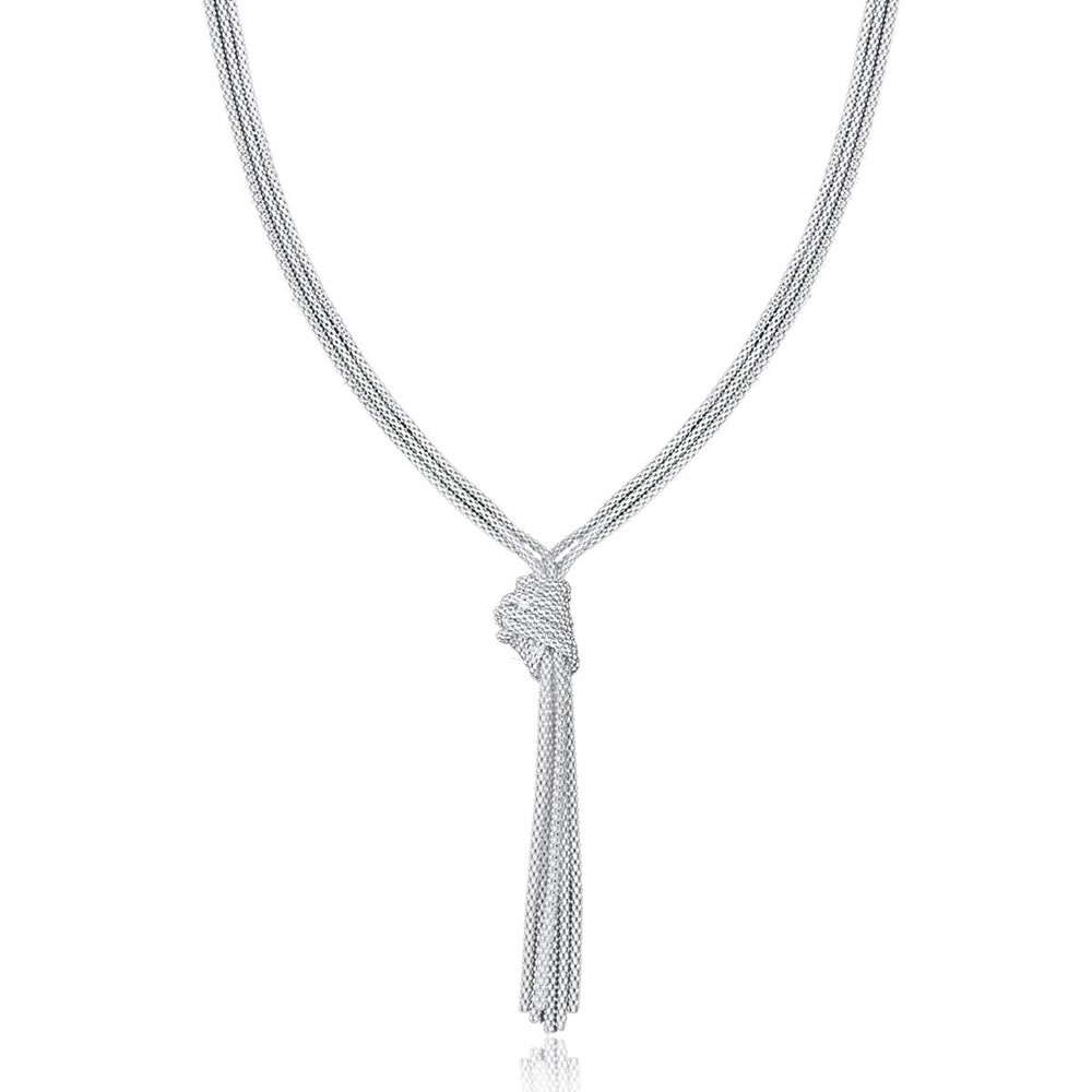 Sterling Silver Multi Strand Knot Necklace In 2019 Shimmering Knot Pendant Necklaces (View 7 of 25)
