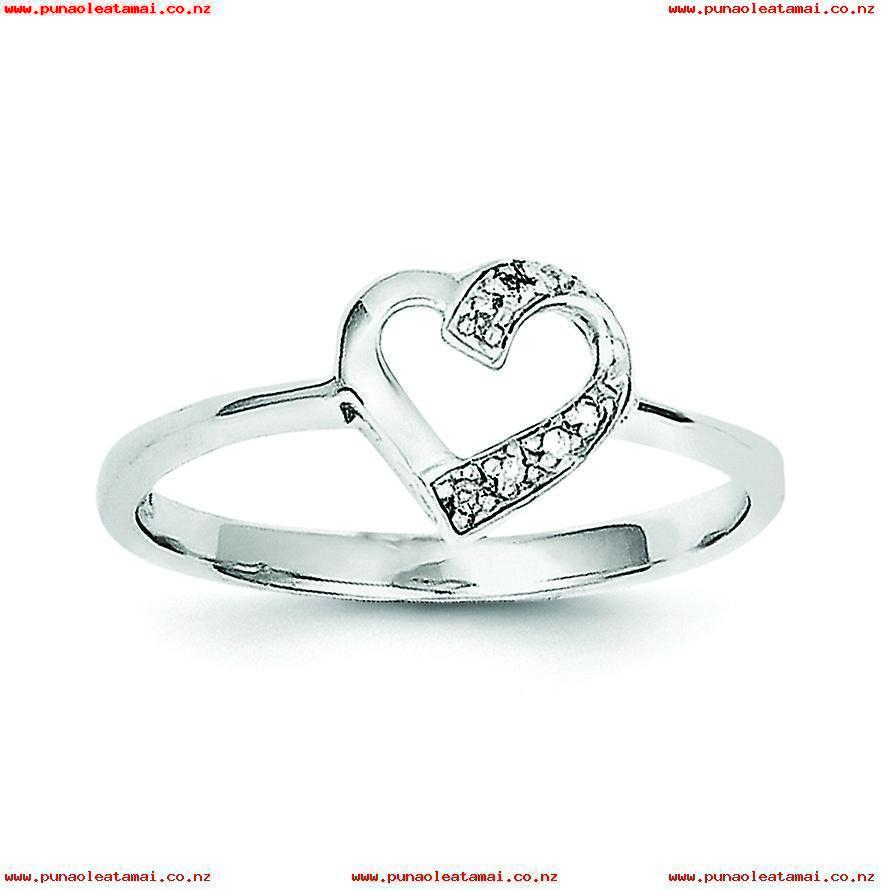 Sterling Silver Open Back Cut Out Sides Rhodium Plated Rhodium With Most Up To Date Polished Heart Open Rings (Gallery 4 of 25)